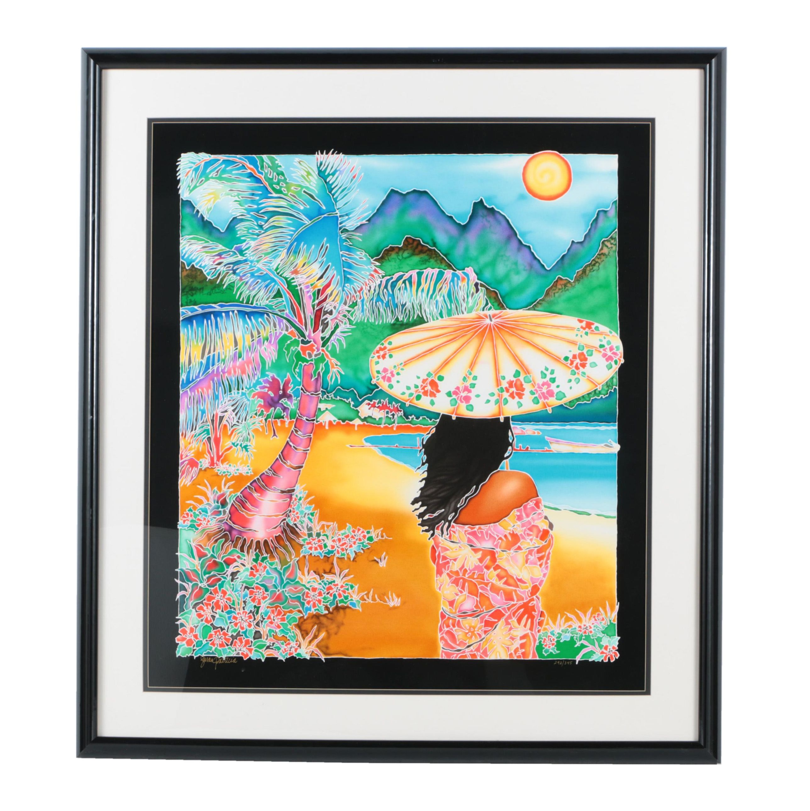 "Susan Patricia Limited Edition Serigraph ""Painted Parasol"""
