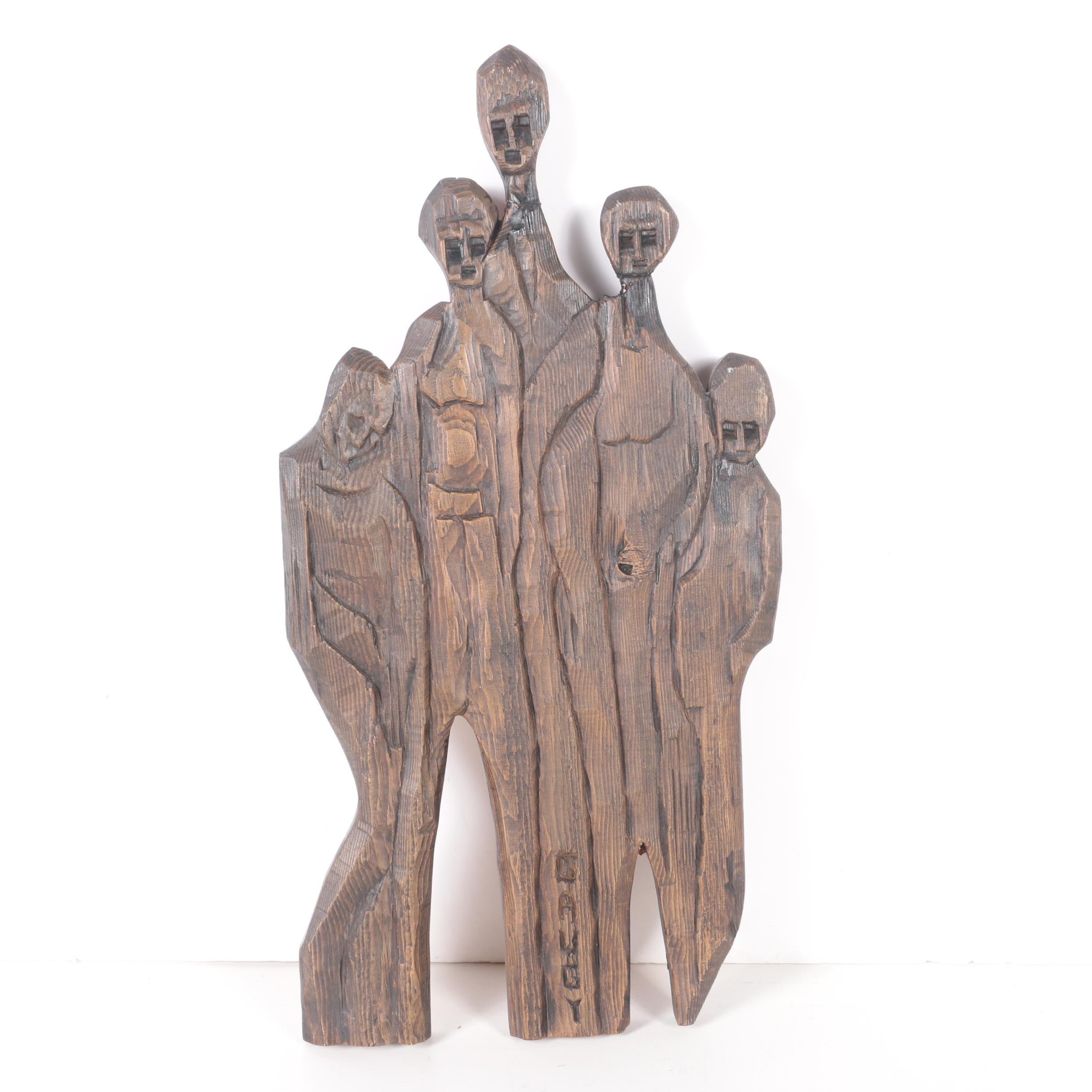 Jean-Claude Gaugy Carved Wooden Wall Hanging of Abstract Figures