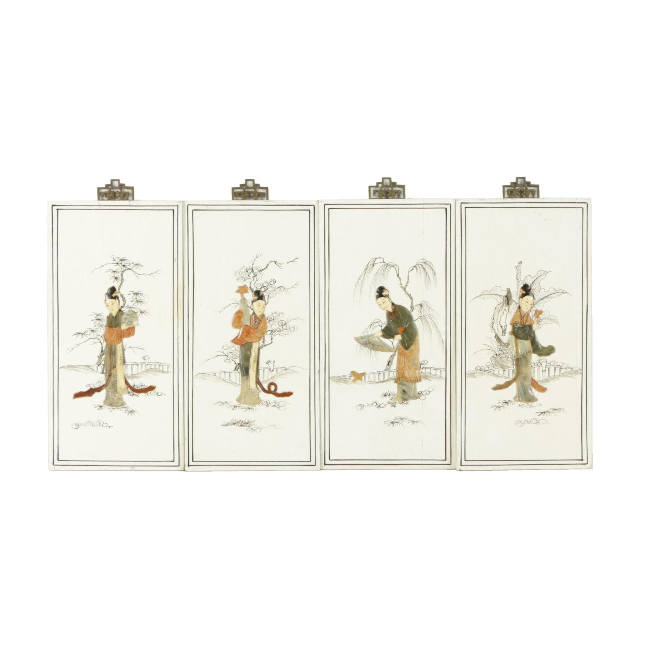 East Asian Style Inlaid Stone Plaques