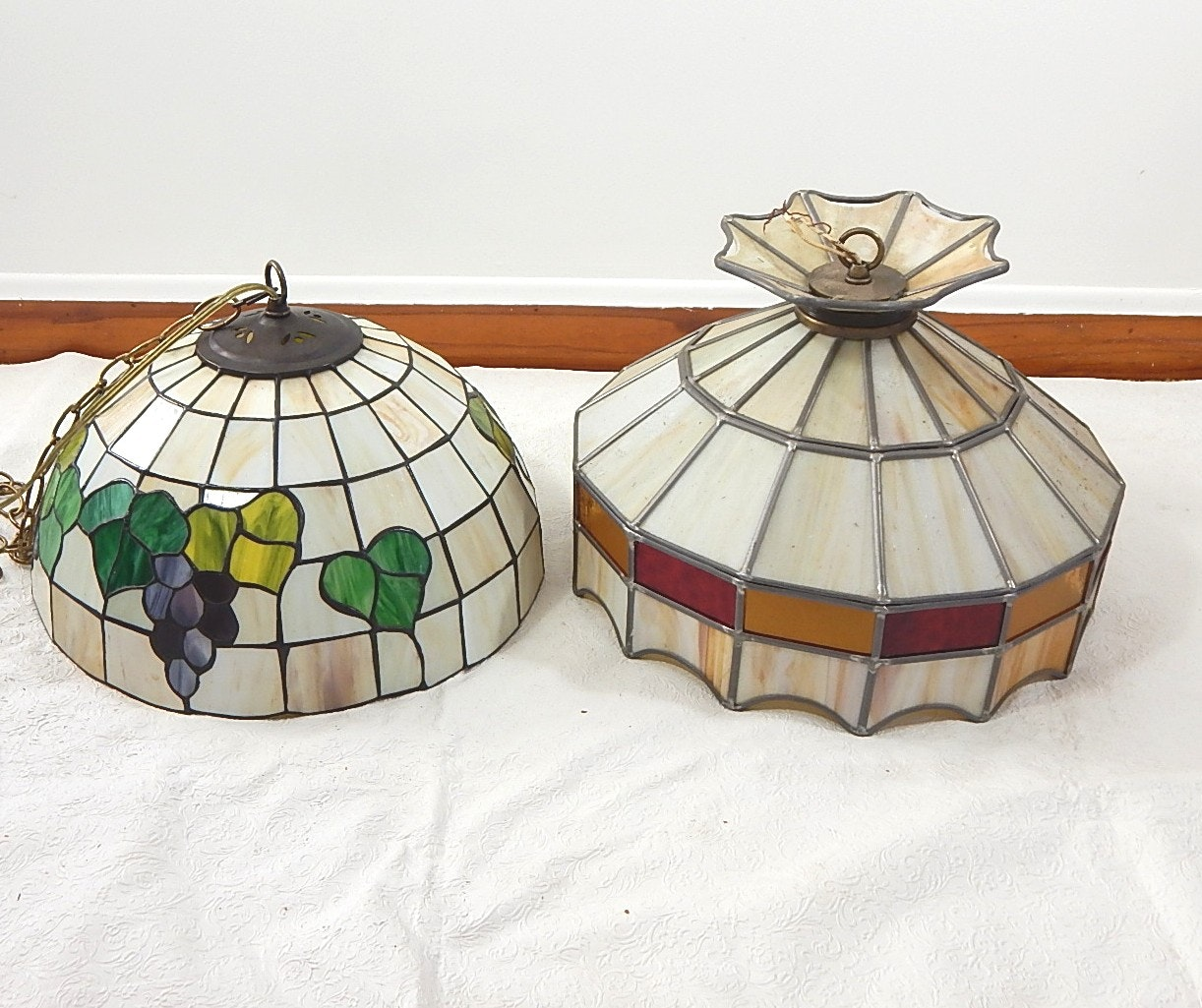 Two Leaded Glass Hanging Lights
