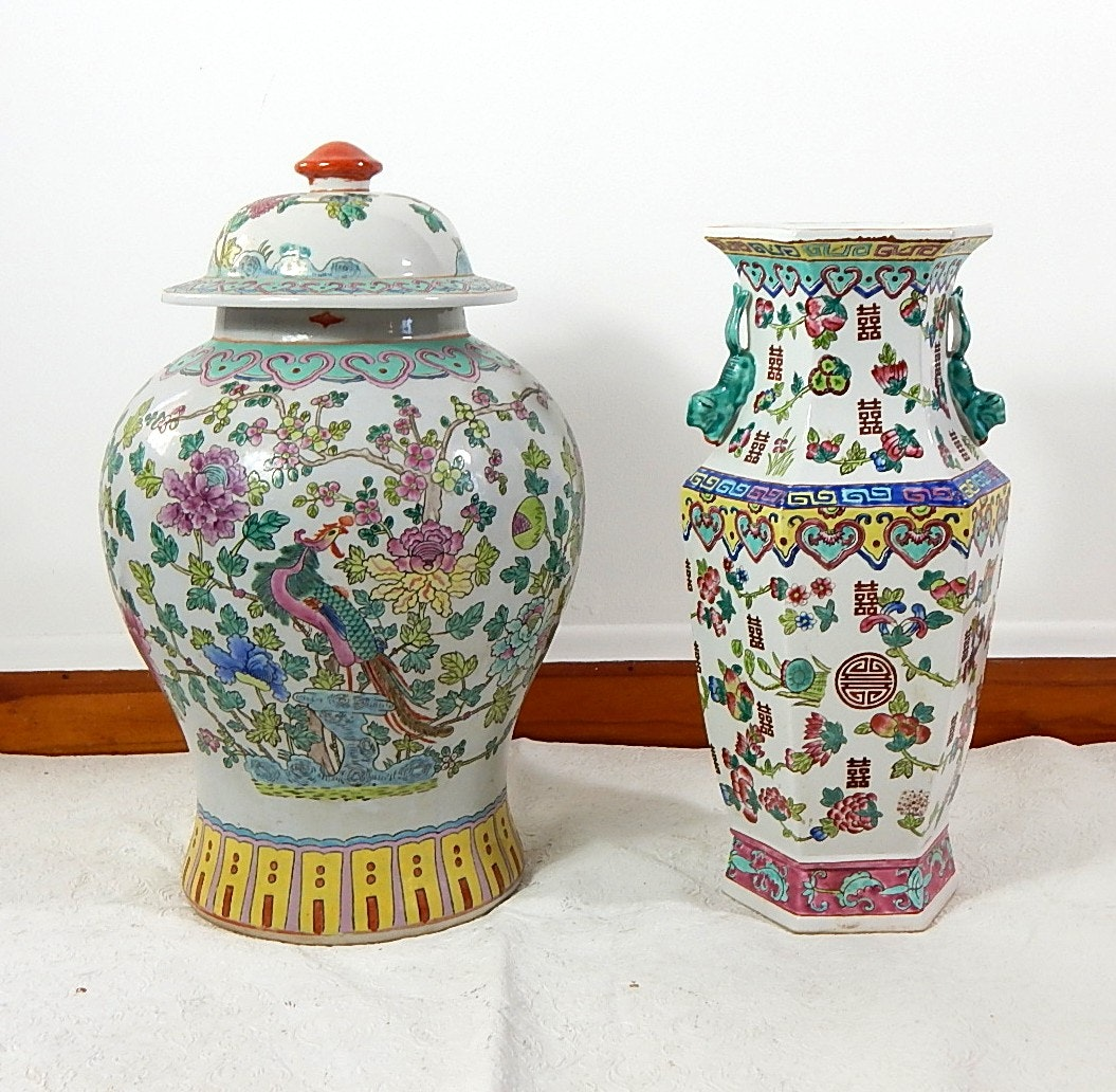 Two Asian Styled Vases and Jar