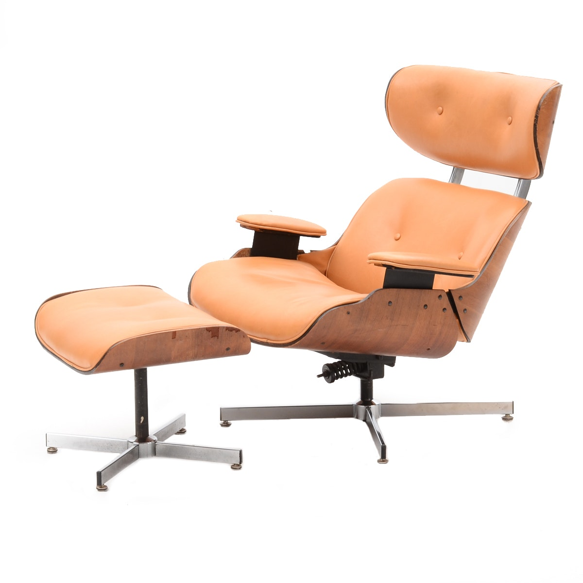 Vintage Mid Century Modern Eames Style Chair and Ottoman