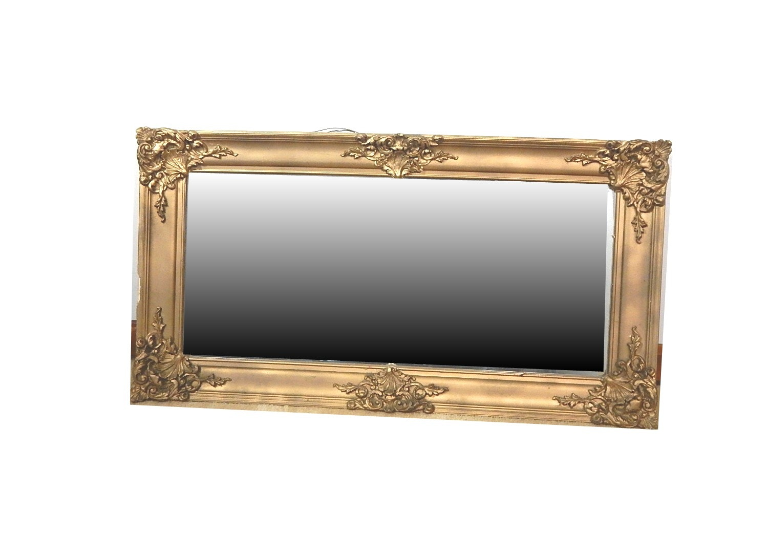 Rectangular Wood and Gesso Wall Mirror