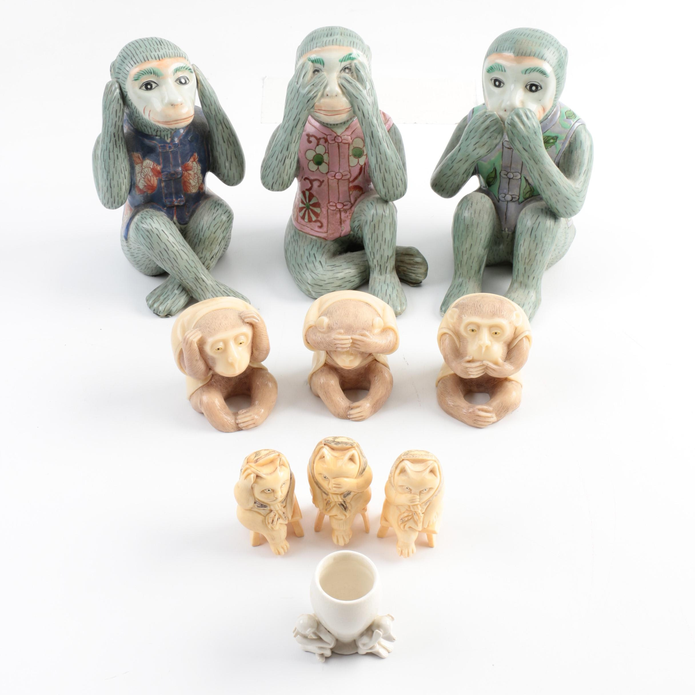 """Monkey and Cat Ceramic and Bone Figurines in """"Wise Monkey"""" Poses"""