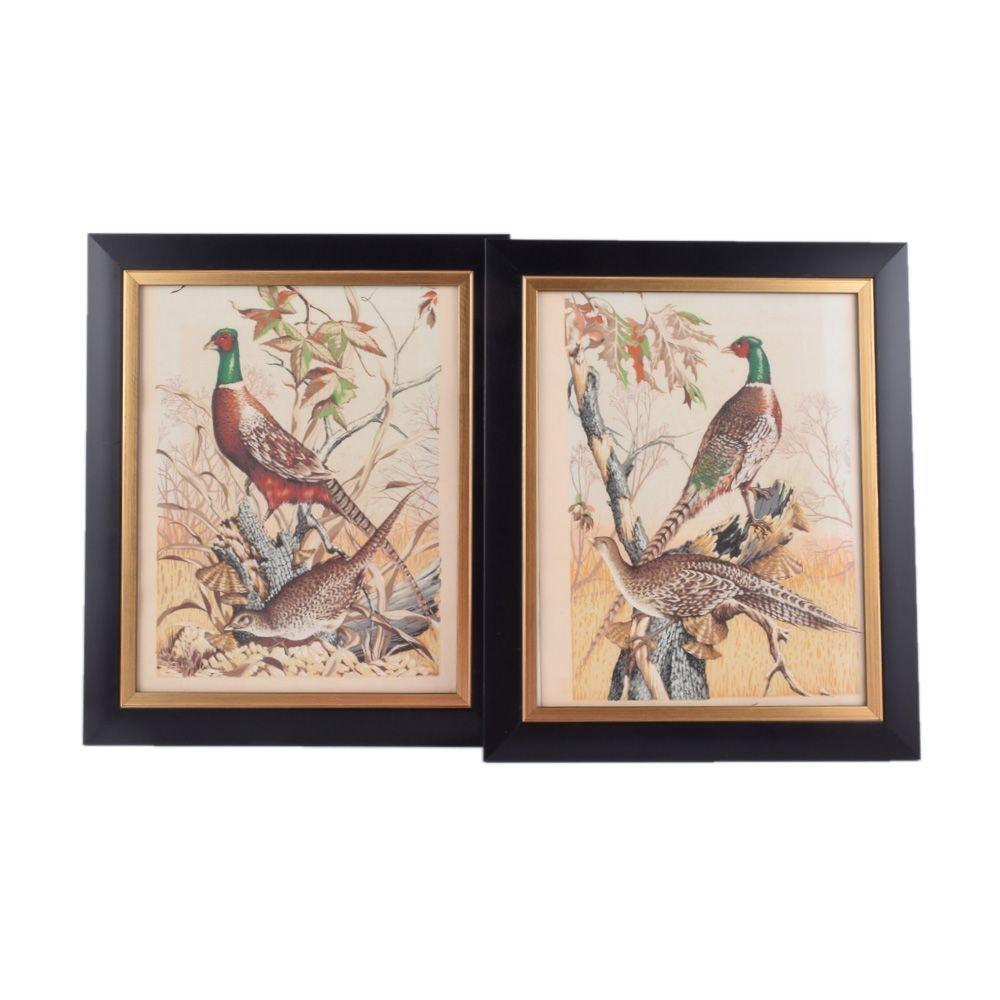 Pair of Vintage Serigraph Prints of Ring Necked Pheasants