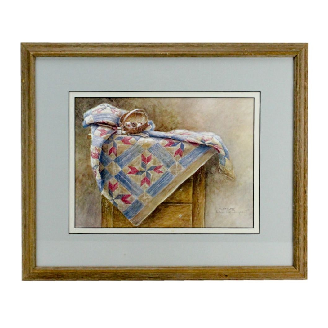 Lou Davenport 1980s Offset Lithograph Print After Still Life with Quilt