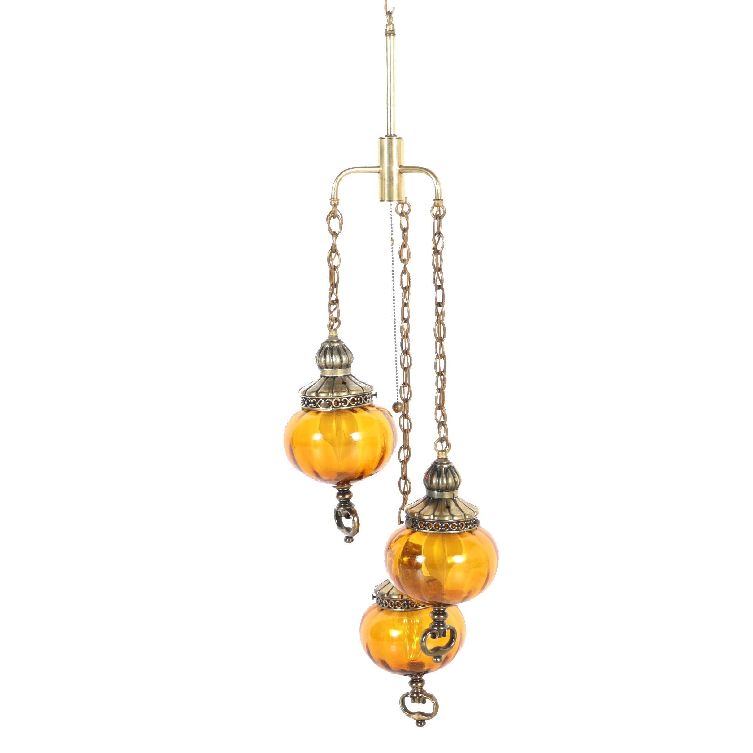 Vintage Three-Pendant Hanging Light Fixture