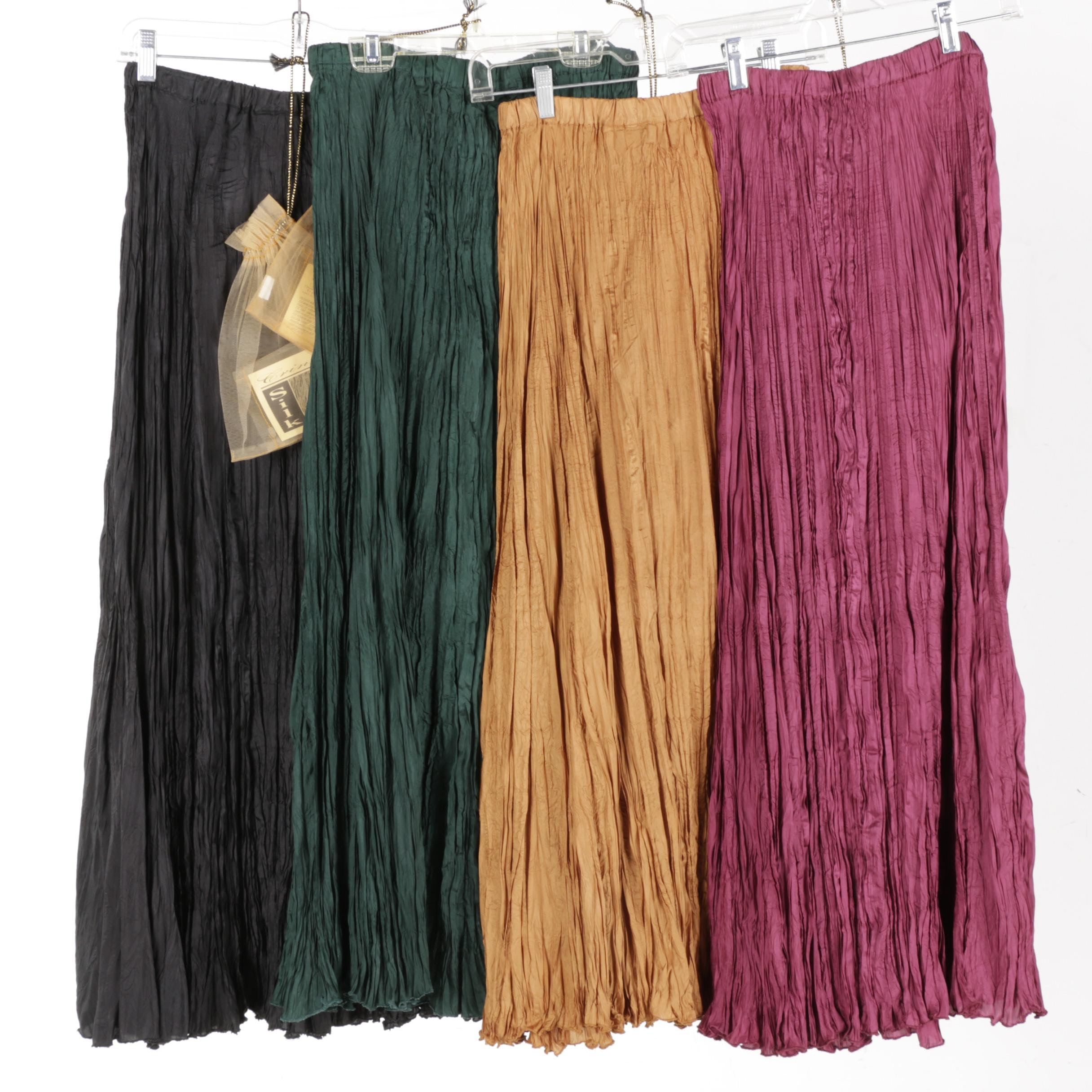 Women's Fashion Edition Crinkle Silk Skirts