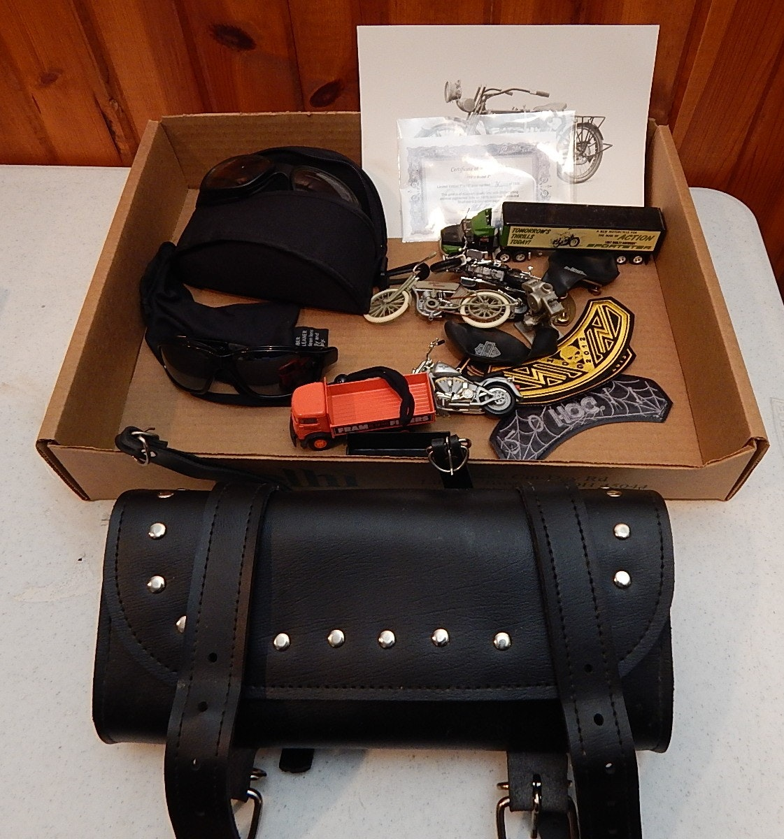 Harley-Davidson Collectibles, Saddle Bag, and Leather Chaps