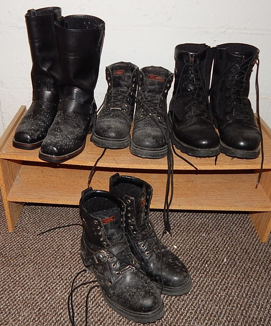 Four Pairs of Black Harley-Davidson Motorcycle Boots