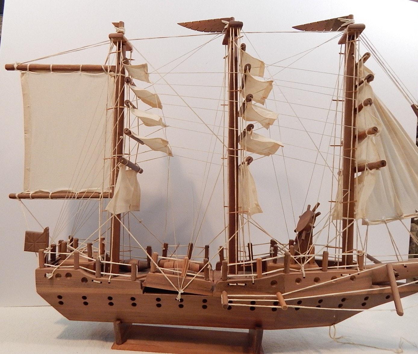Large Model Wooden Sailing Vessel
