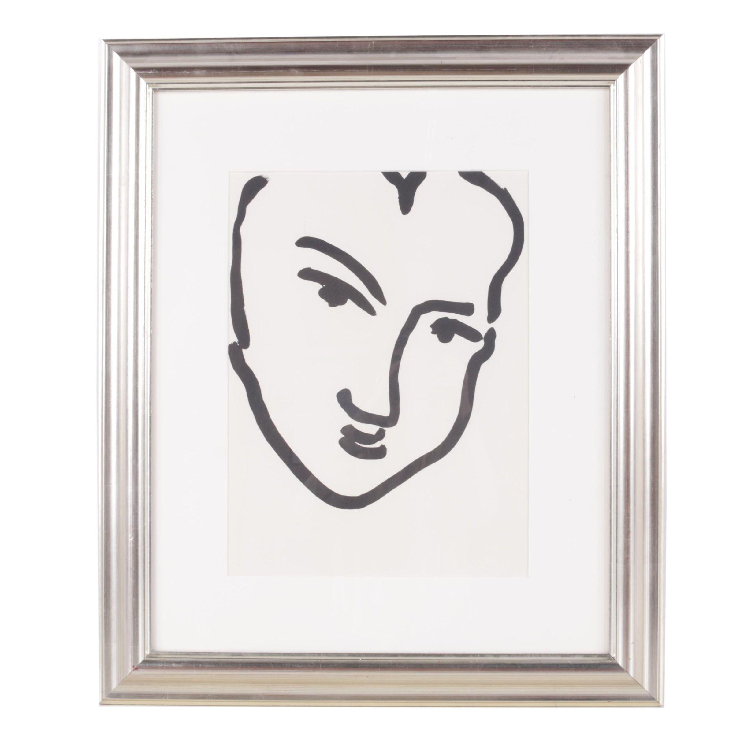 "Lithograph on Paper After Henri Matisse ""Nadia au Visage Penche"""