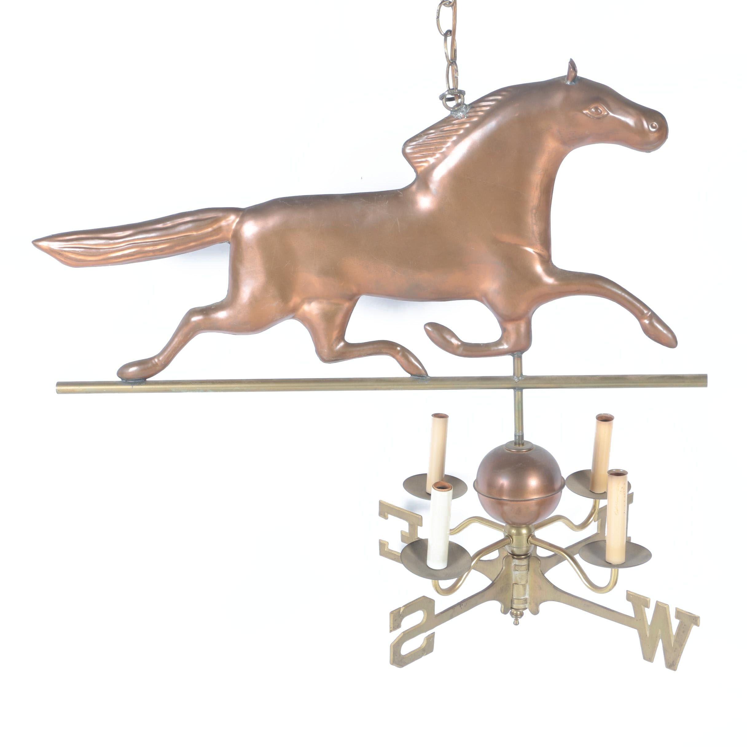 Brass Horse Compass Chandelier