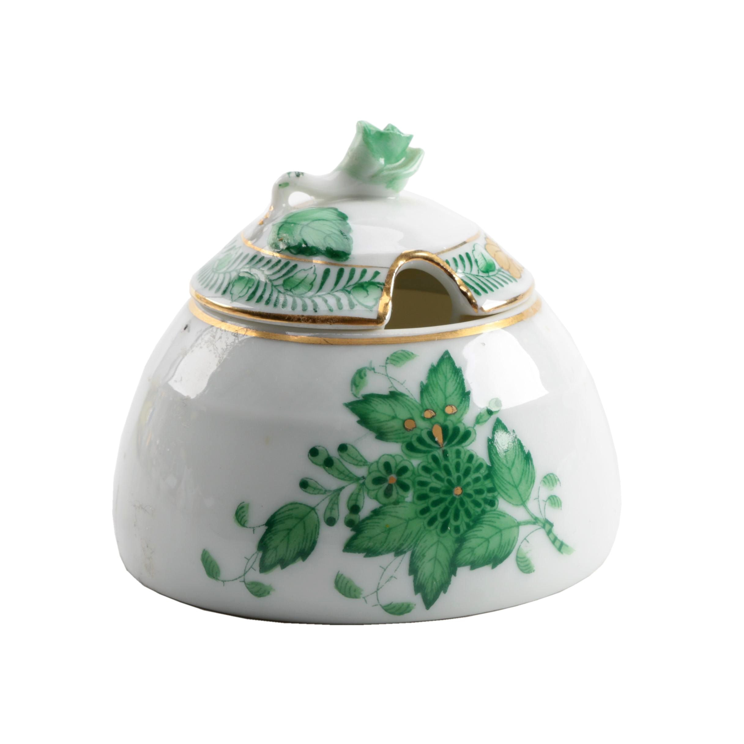 """Herend Hungary Porcelain """"Chinese Bouquet Green """"Honey Pot"""