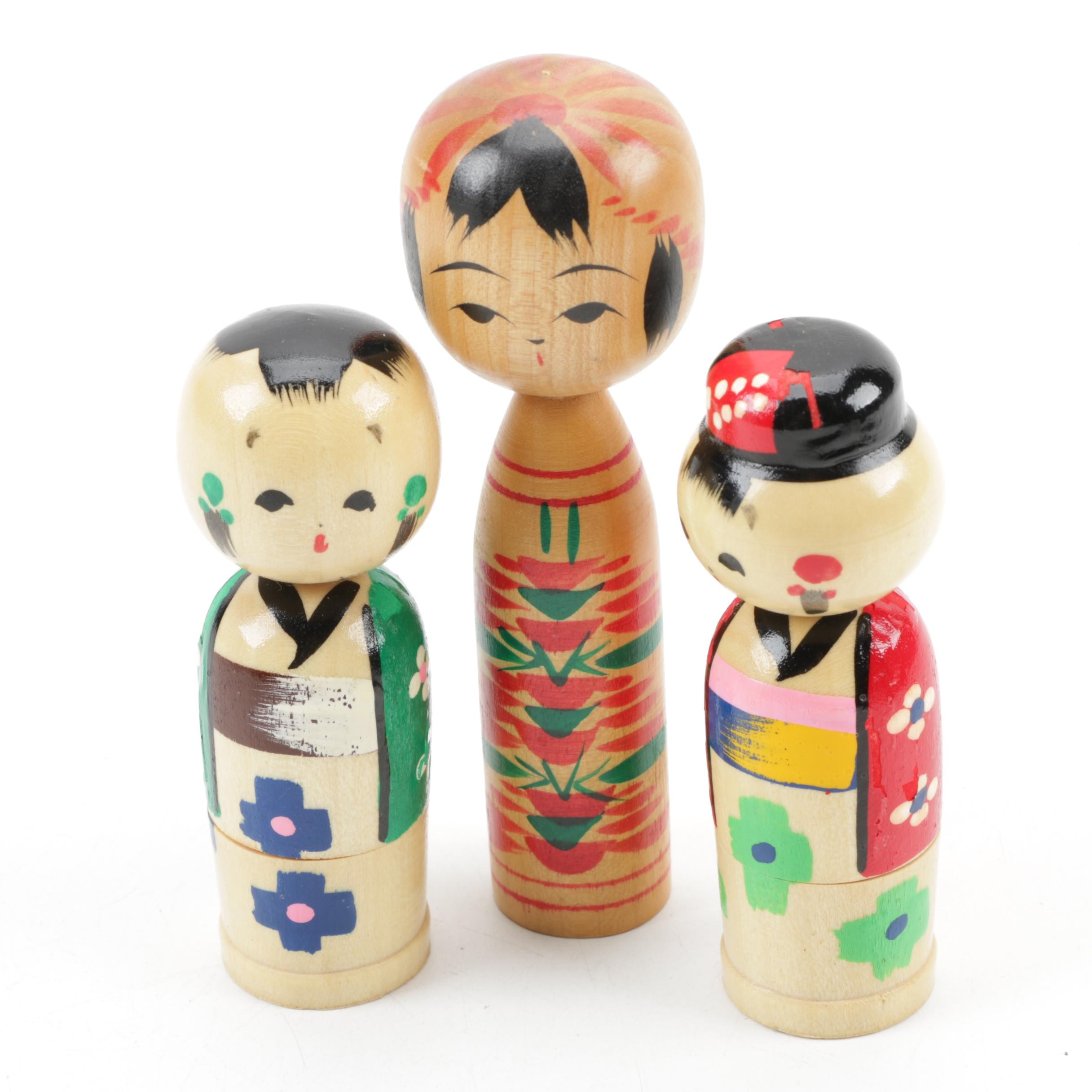 Japanese Kokeshi Dolls Including Nesting Kokeshi