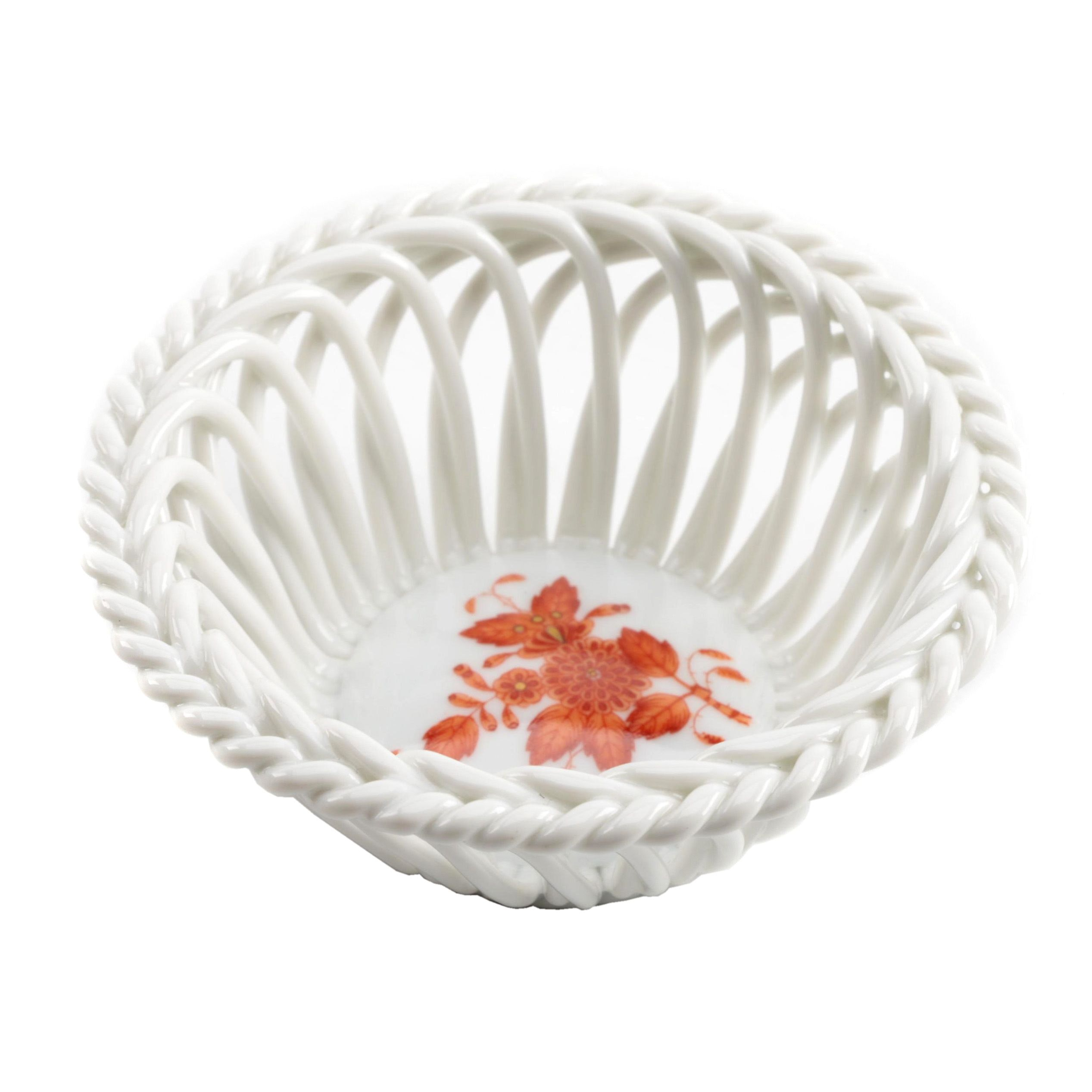 """Herend Hungary Porcelain """"Chinese Bouquet Rust"""" Open Weave Basket"""
