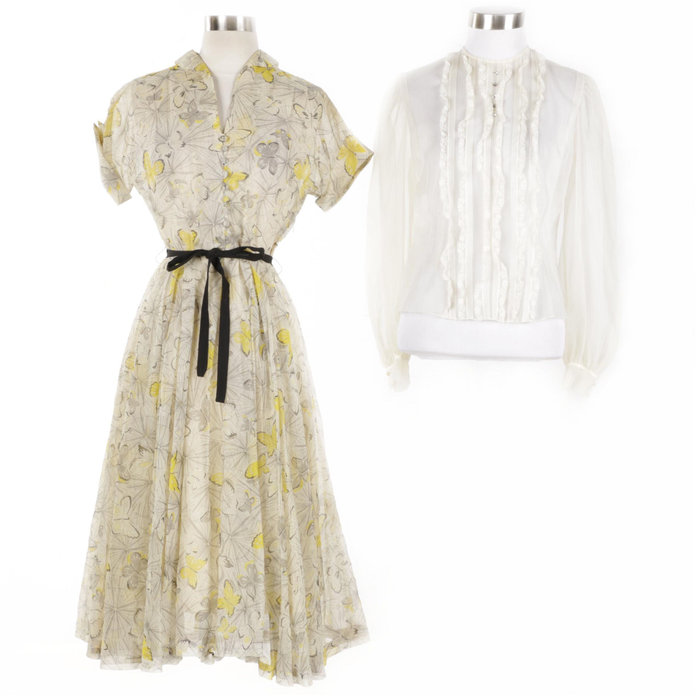 Women's Vintage Dress and Sheer Lace Top