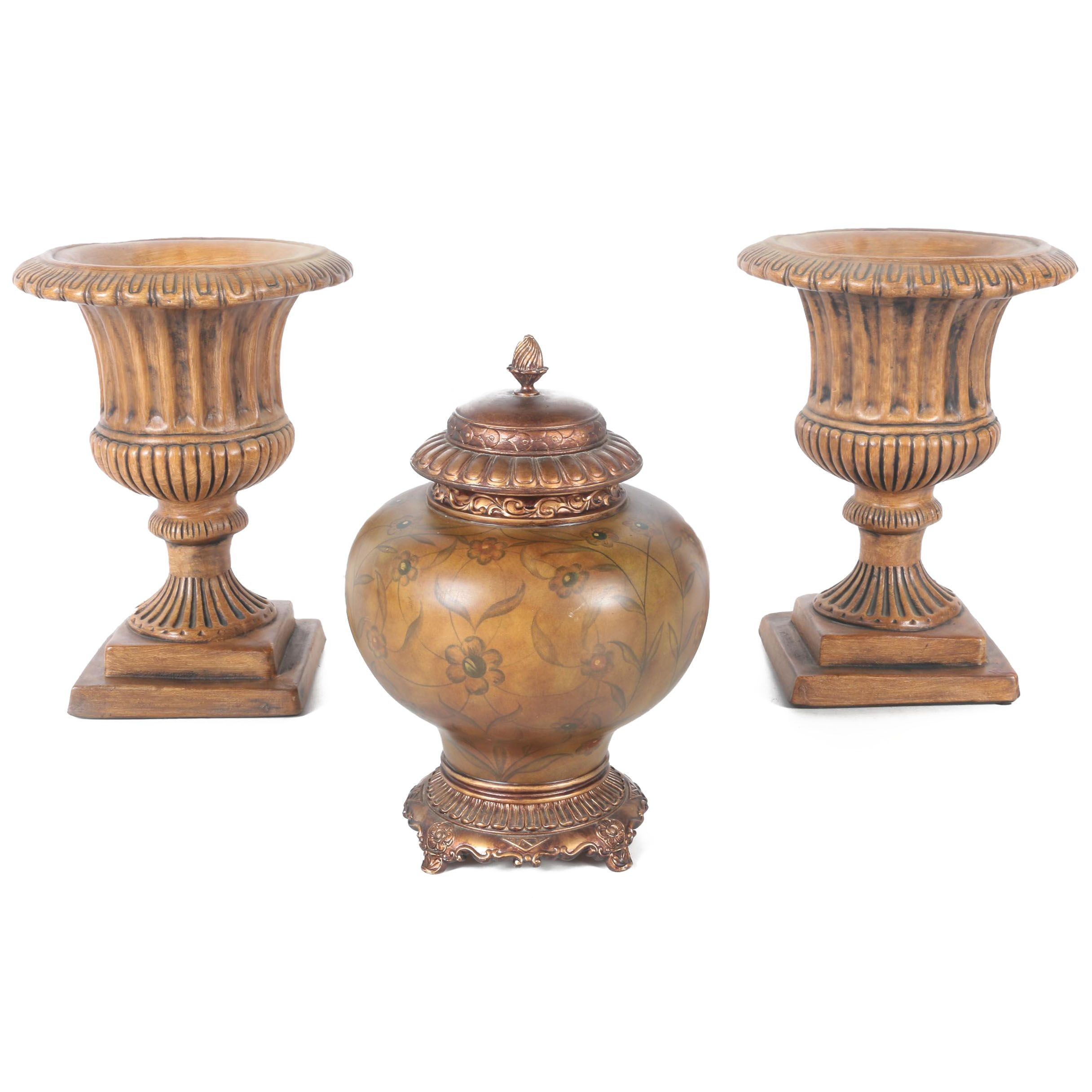 Beige Ceramic Planters and Urn