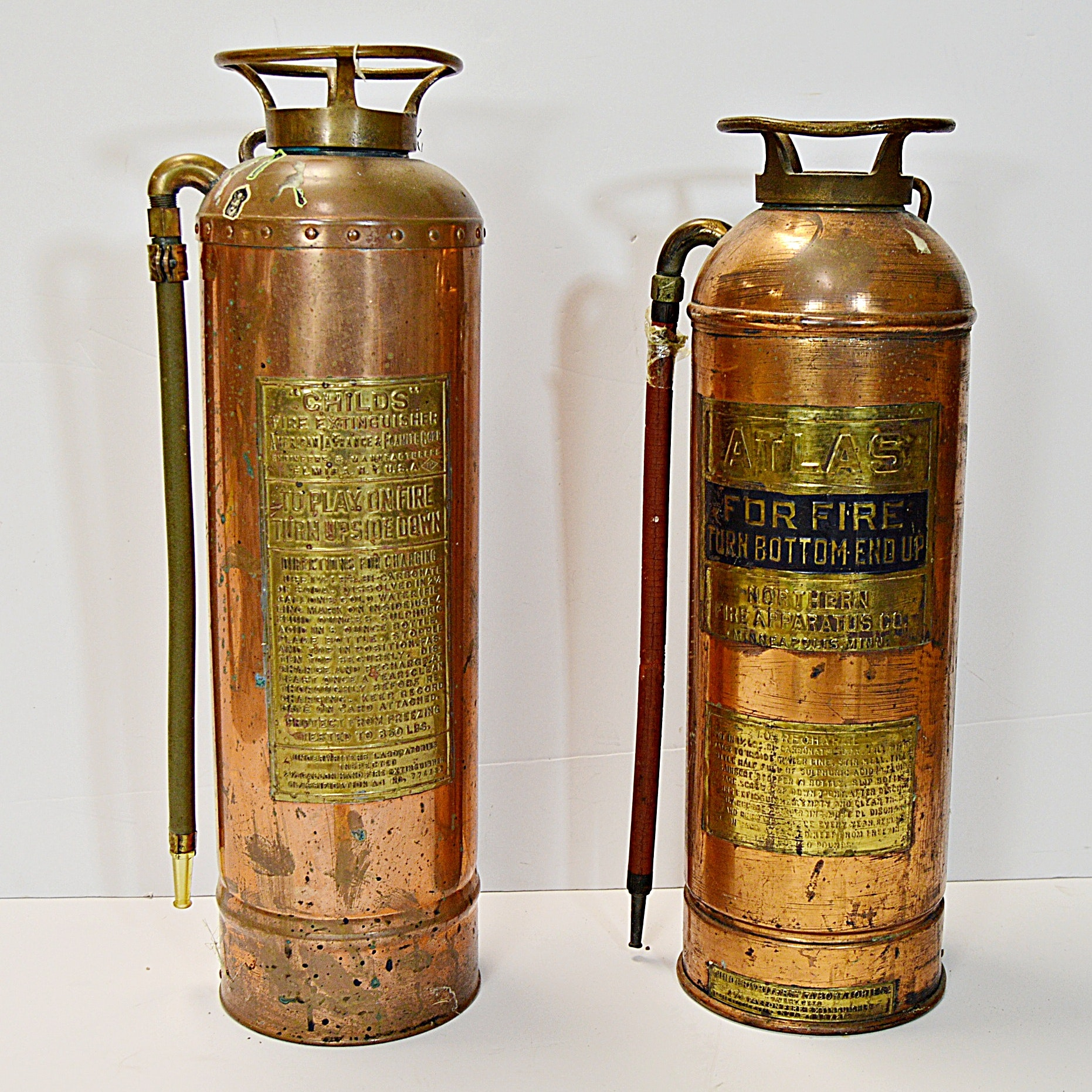 Vintage Copper and Brass Fire Extinguishers