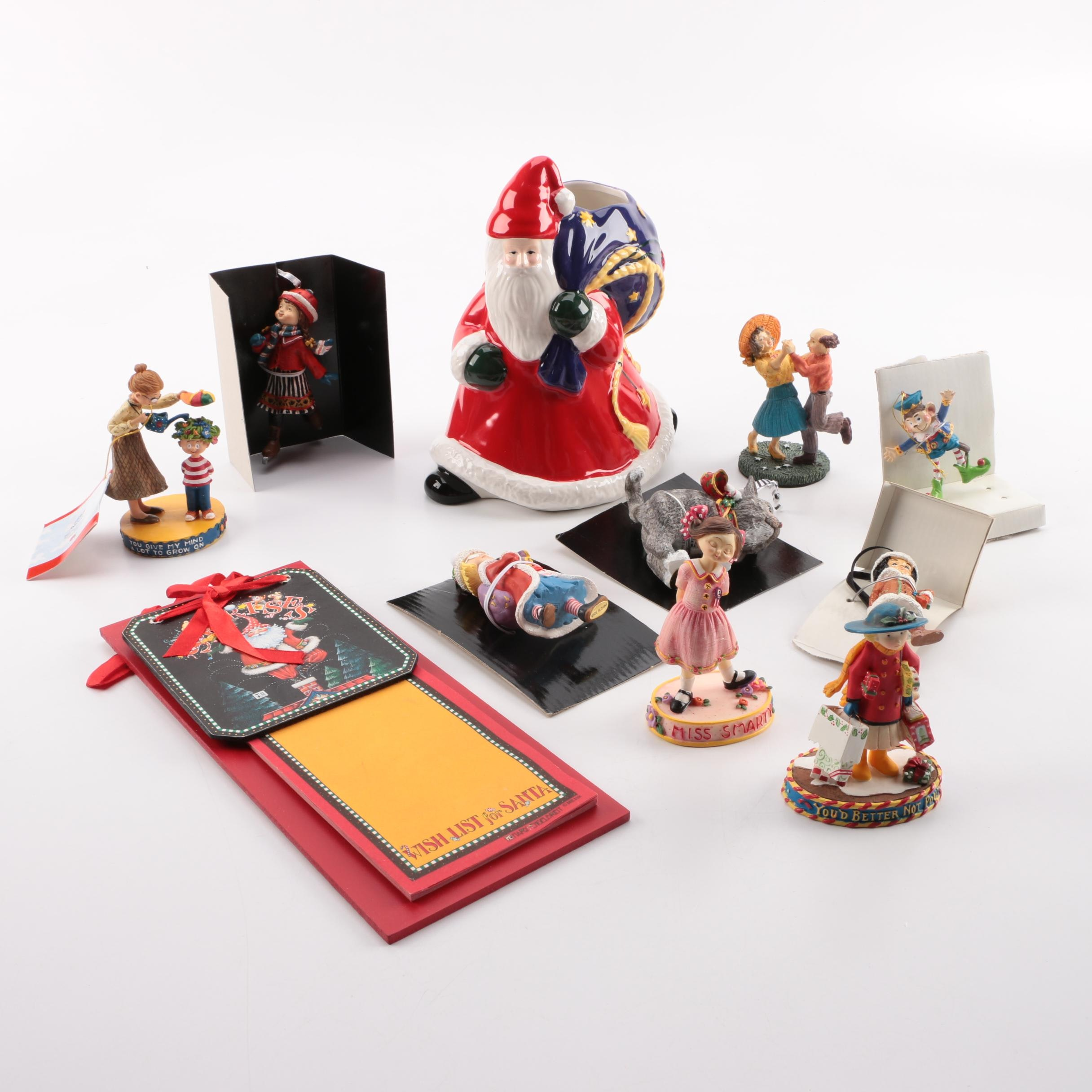 Mary Engelbreit Ornaments and Santa Figurine