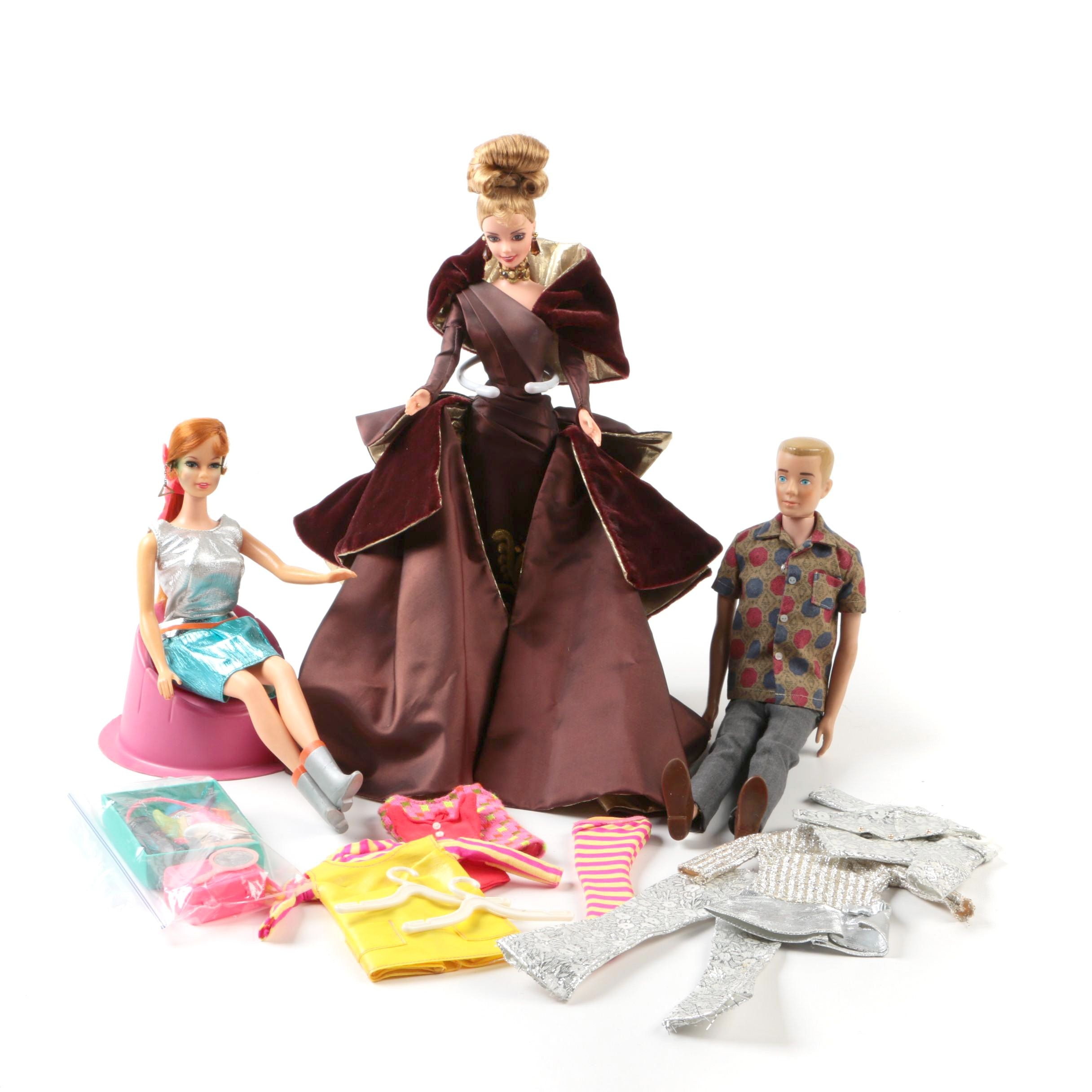 """1960s Ken and Stacey Dolls with """"Couture in Taffeta"""" Barbie"""