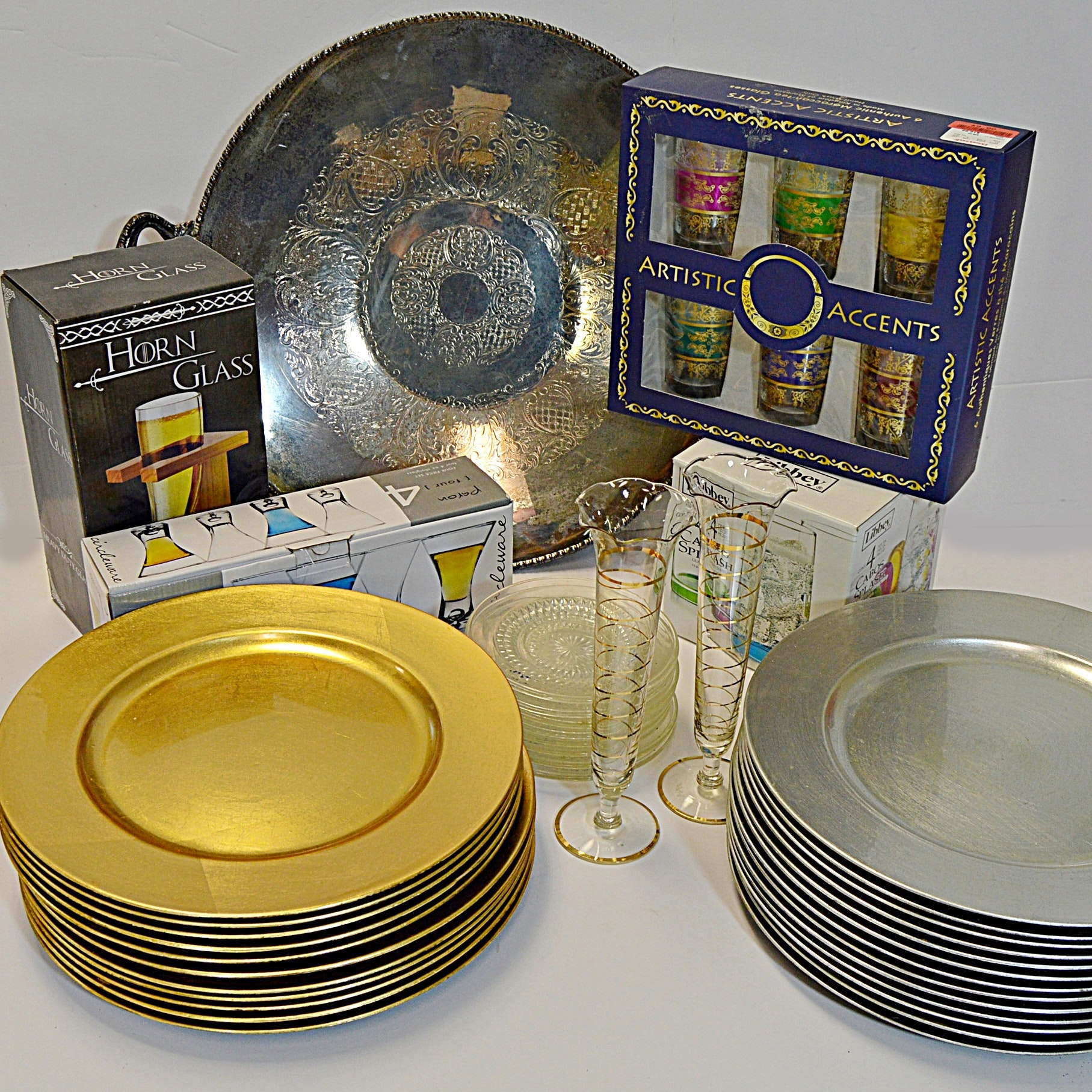 Tableware and Boxed Barware Sets with Vintage Tray and Pressed Glass Plates