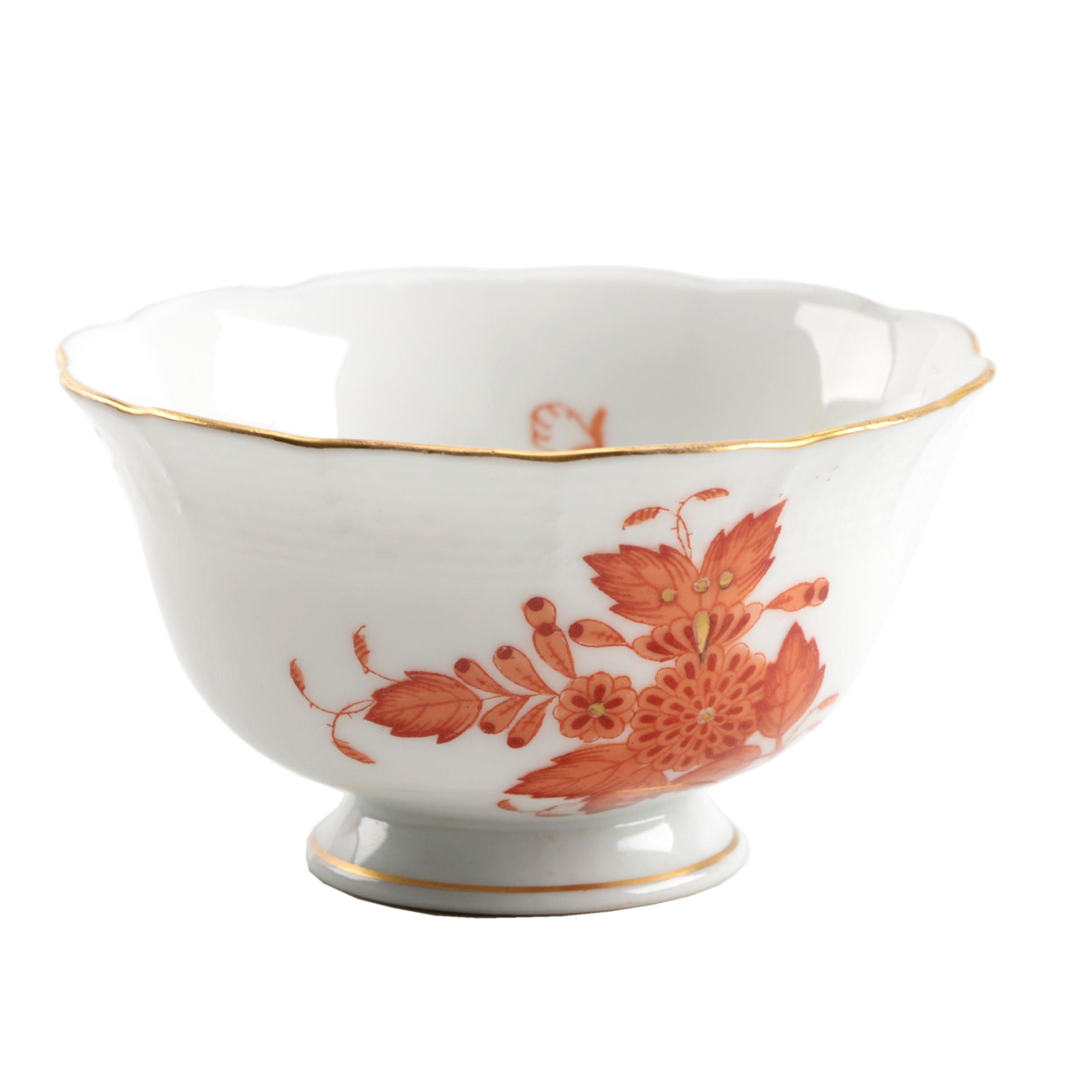 """Herend Hungary """"Chinese Bouquet Rust"""" Hand Painted Porcelain Sugar Bowl"""