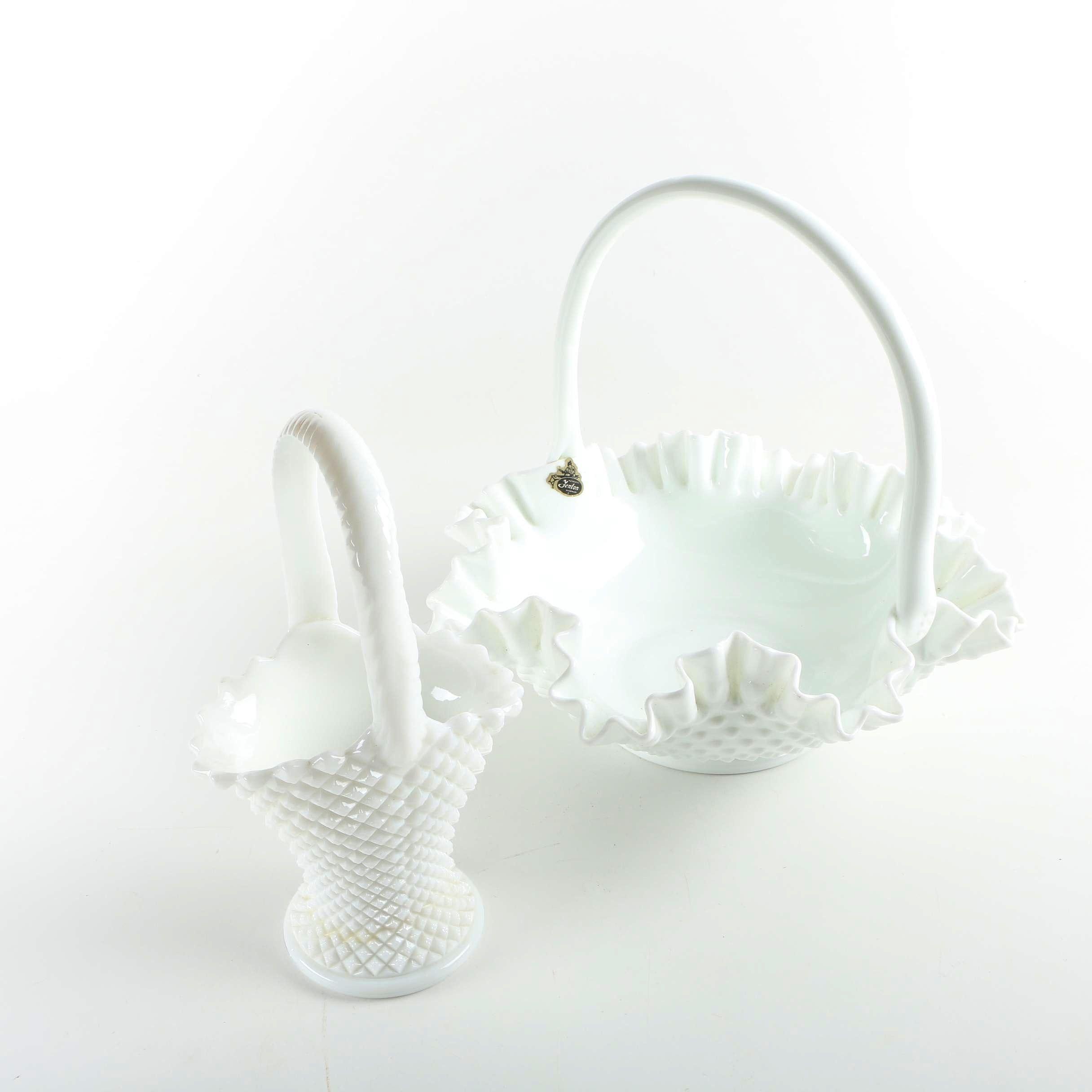 Vintage Milk Glass Brides Baskets Featuring Fenton
