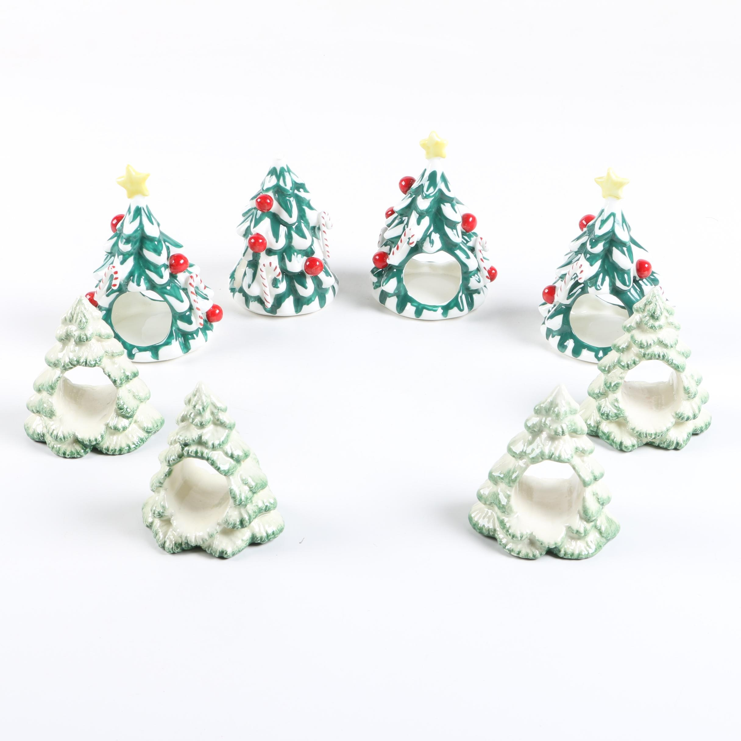 Ceramic Christmas Tree Motif Napkin Holders