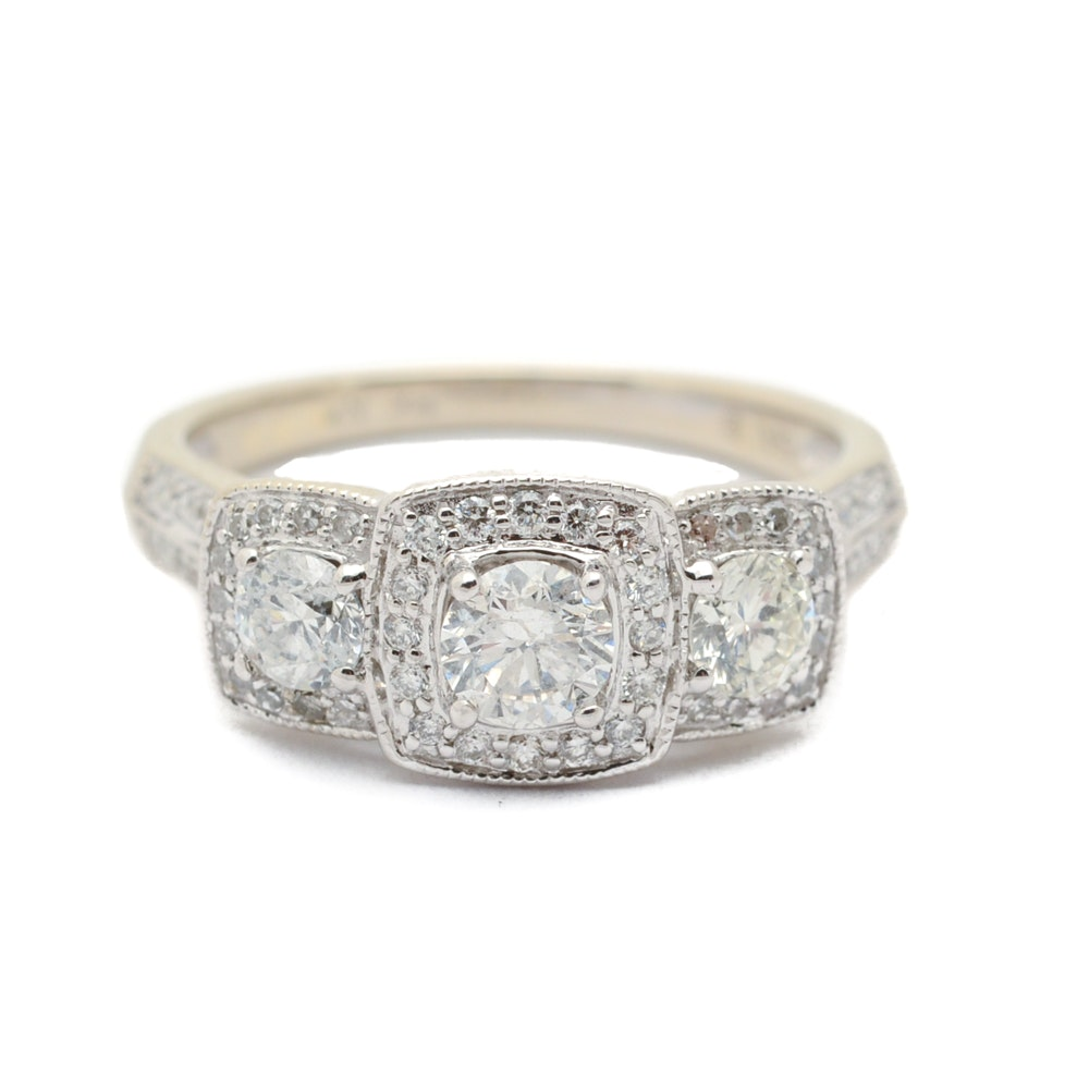 14K White Gold 1.02 CTW Diamond Halo Engagement Ring