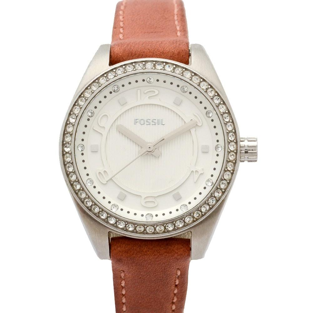 Fossil Classic Dusty Rose Cubic Zirconia Wristwatch