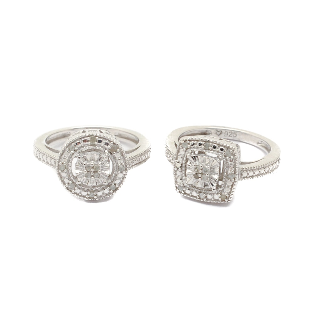 Pairing of Sterling Silver Diamond Halo Rings