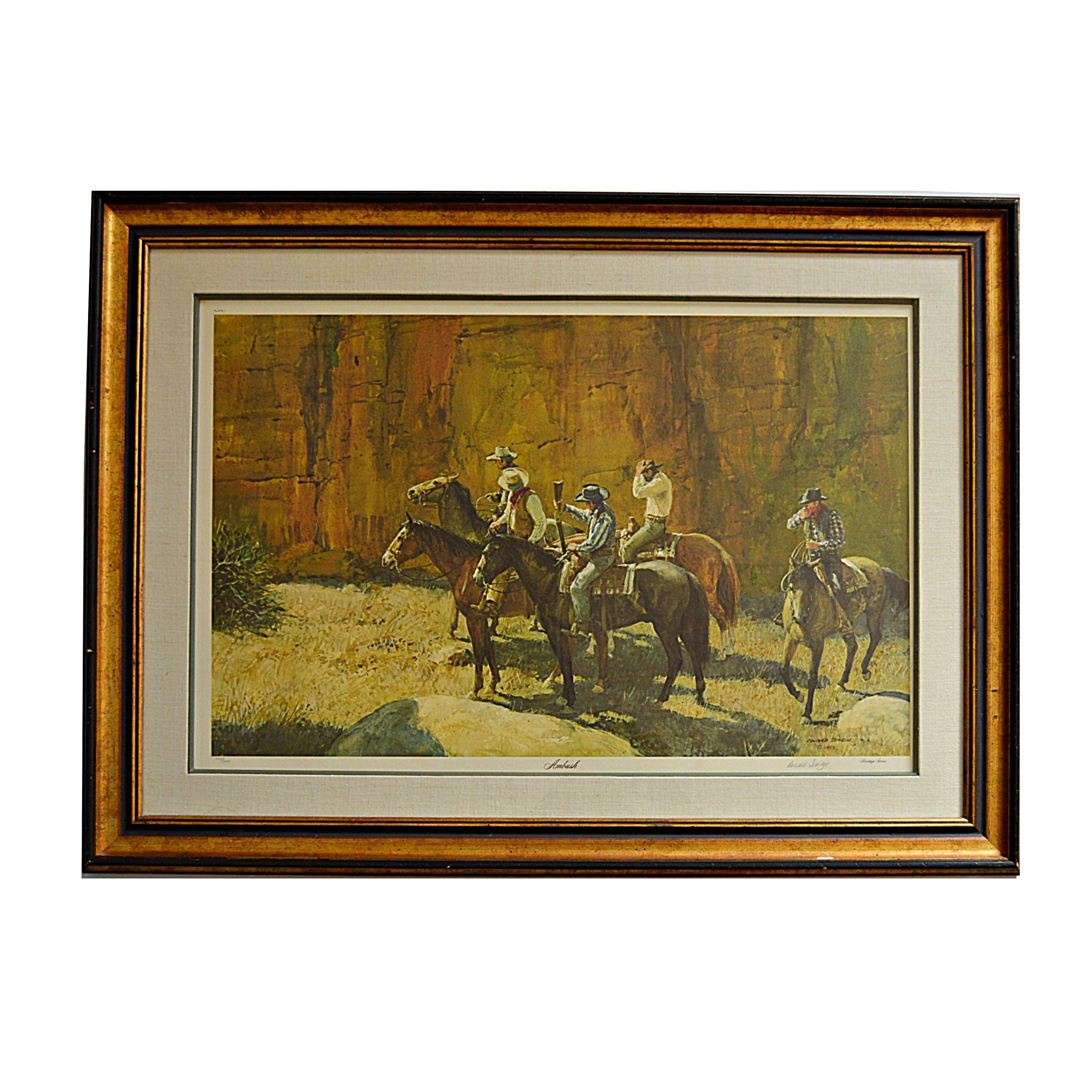 "Signed Limited Edition Offset Lithograph after ""Ambush"" by Donald Teague"
