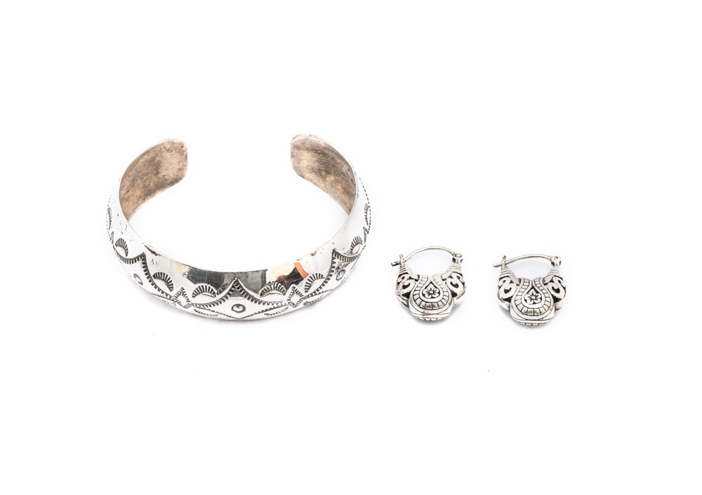 Sterling Silver Cuff Bracelet and Earrings