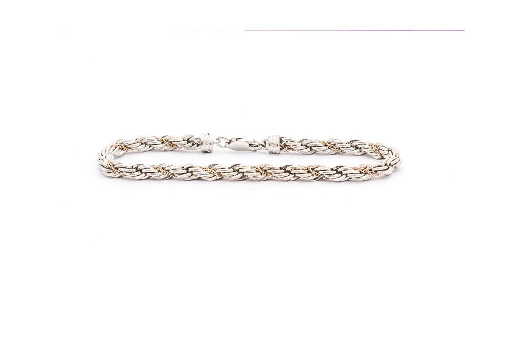 Precious Precious Sterling Silver 14K Gold French Rope Chain Bracelet