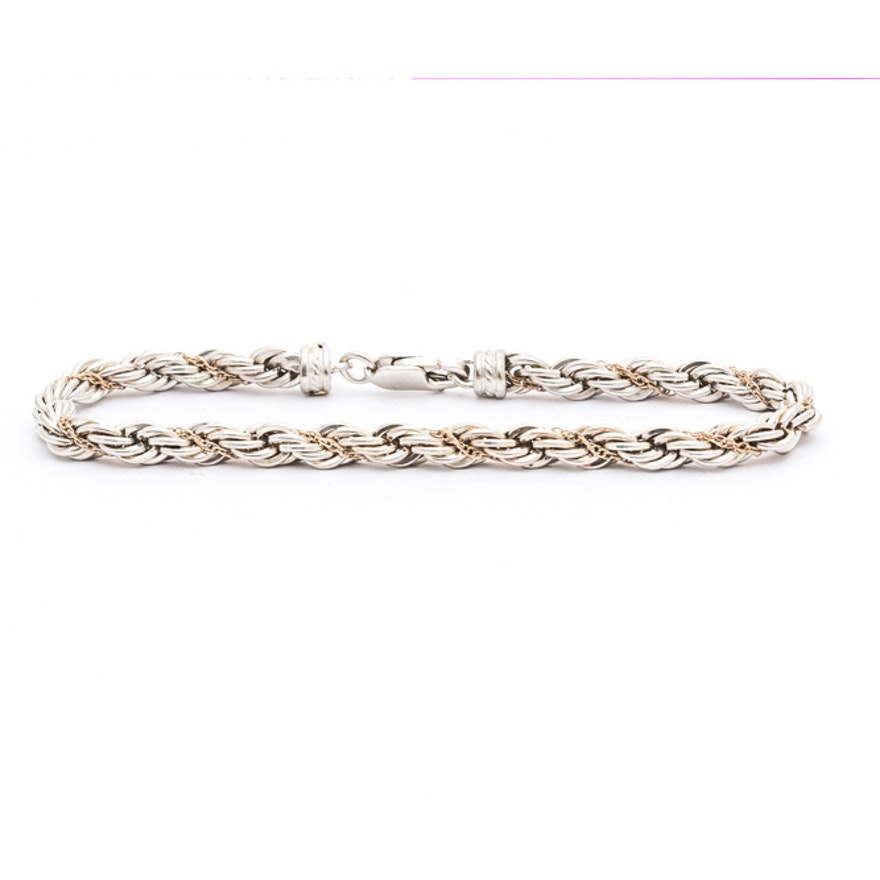 03173e4c0a343 Precious Precious Sterling Silver 14K Gold French Rope Chain Bracelet