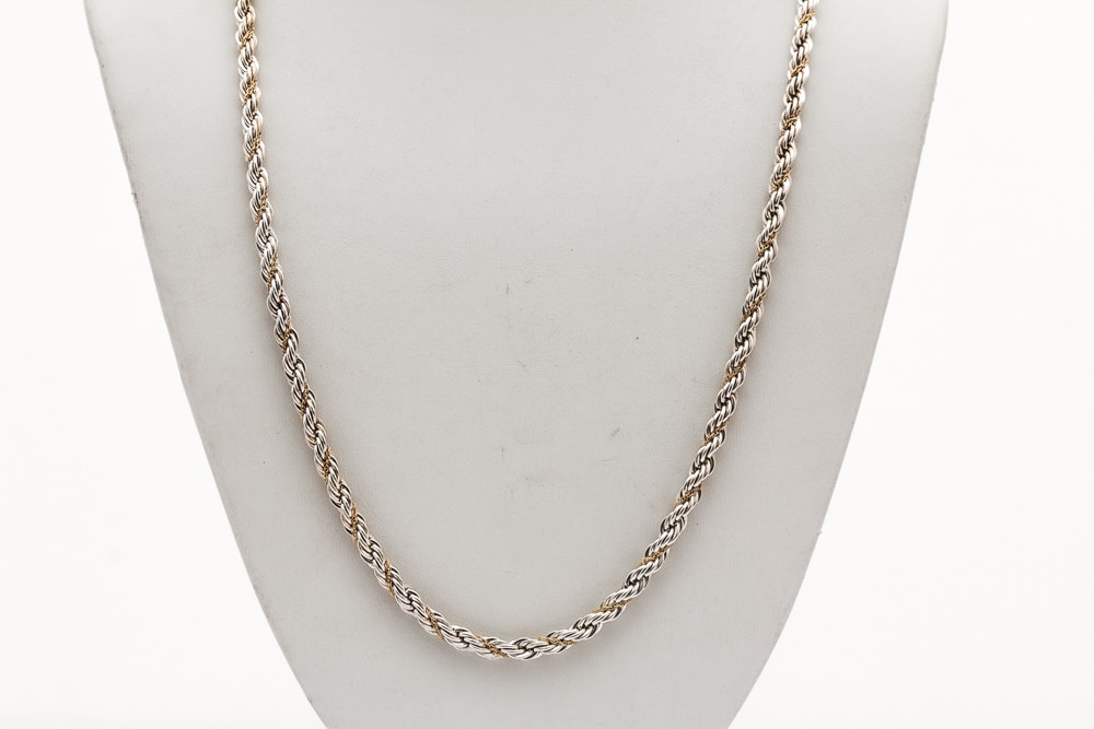 Tiffany & Co. Sterling Silver 18K Gold French Rope Chain
