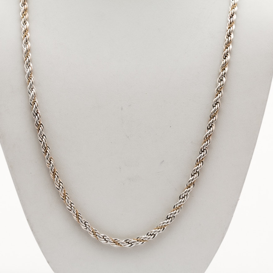 58c8bbeaeb7 Tiffany & Co. Sterling Silver 18K Gold French Rope Chain | EBTH