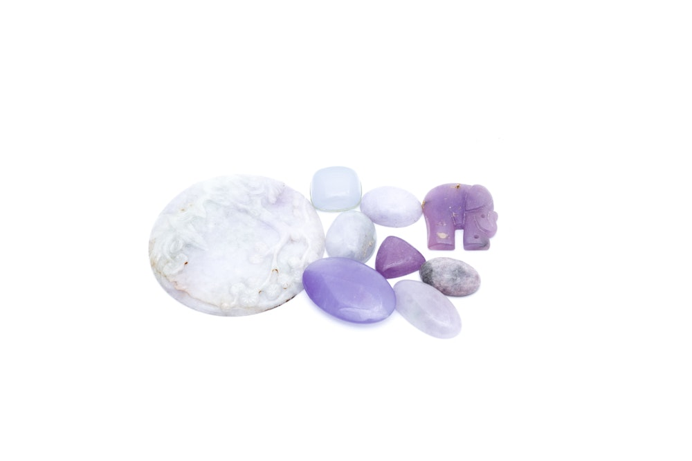 Lavender Nephrite Jade Carvings and Cabochons