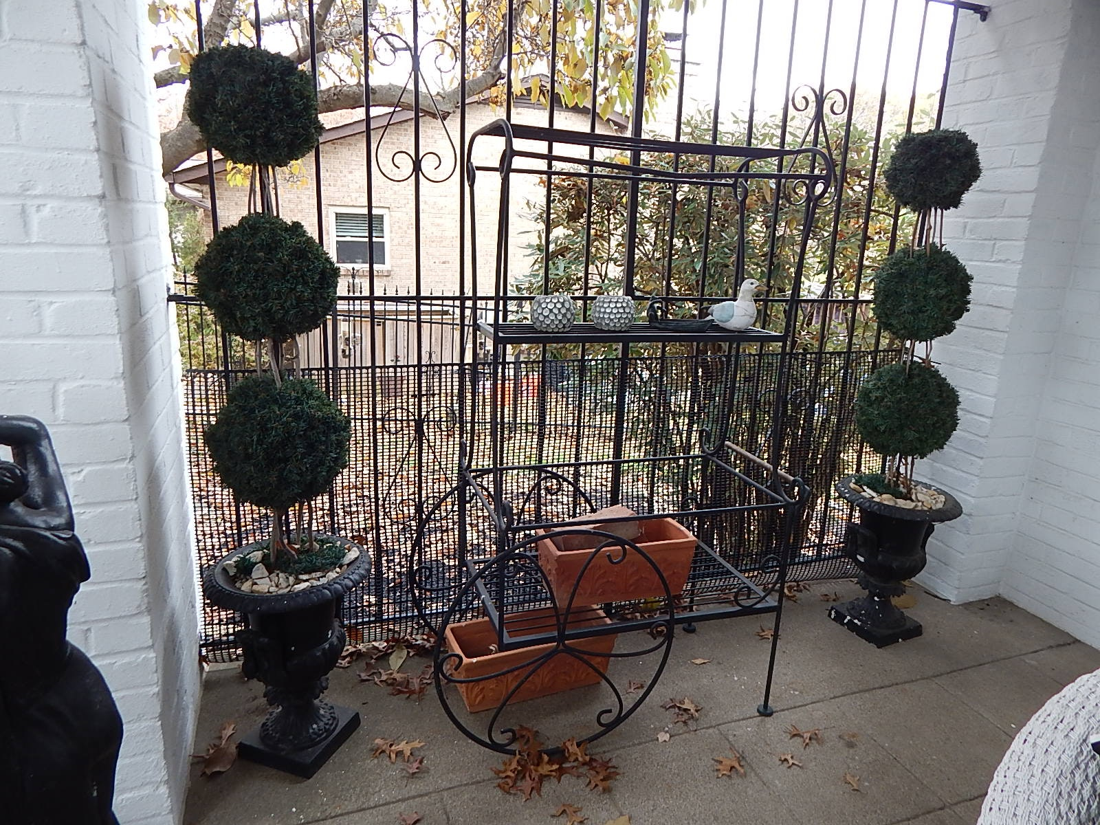 Oversized Black Metal Gardening Cart and Faux Topiary