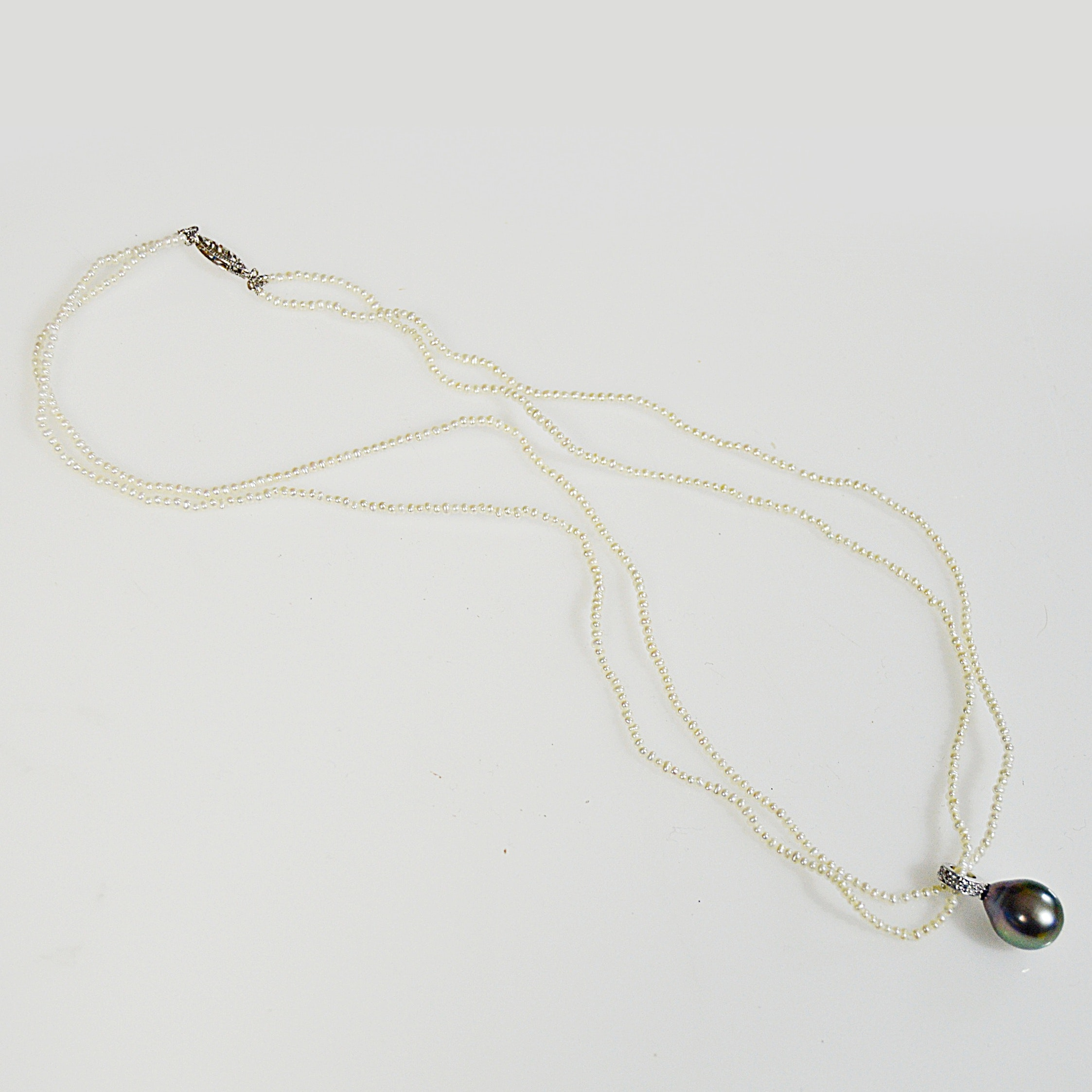 14K Cultured Pearl and Diamond Necklace