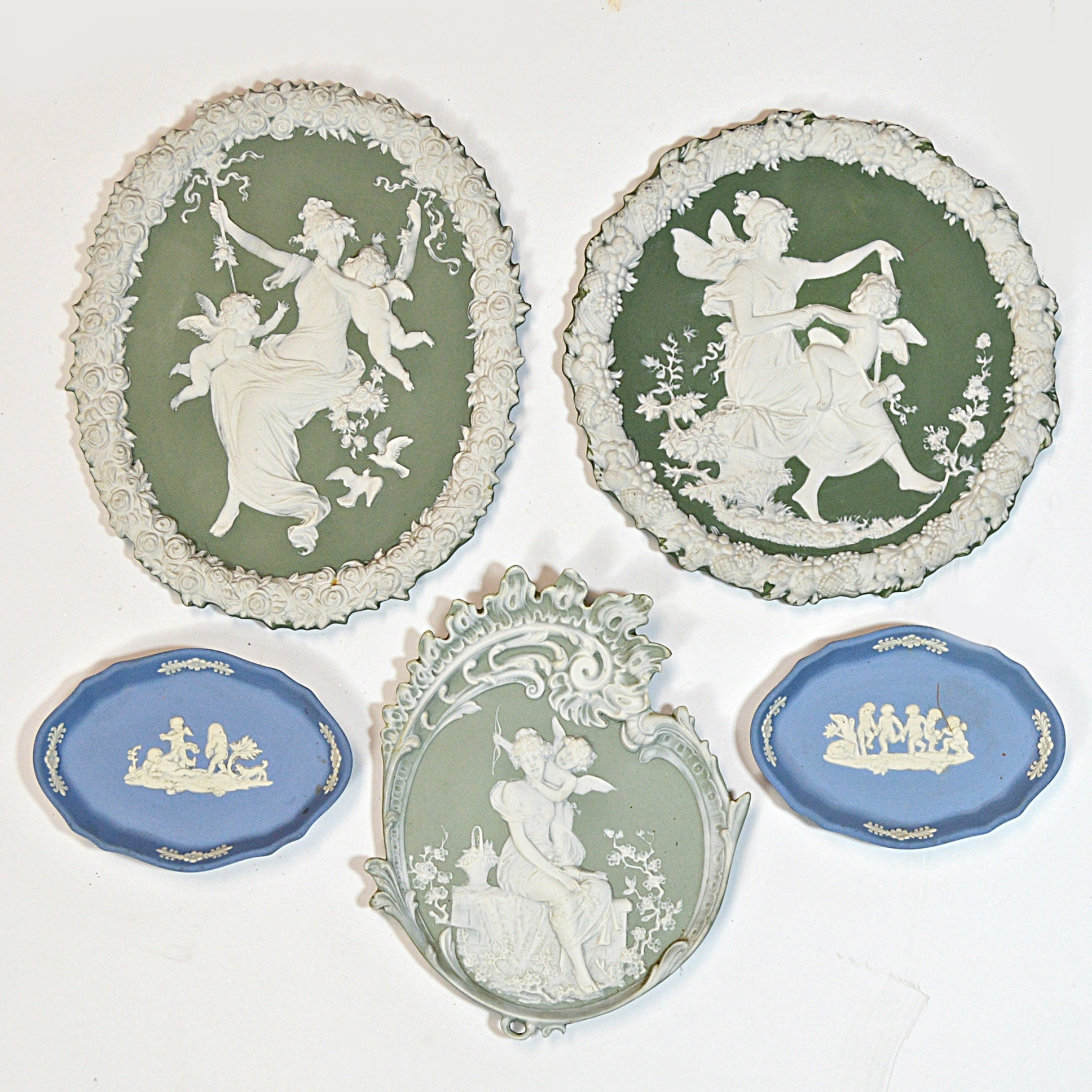 Vintage Jasperware Plaques and Dishes including Wedgwood