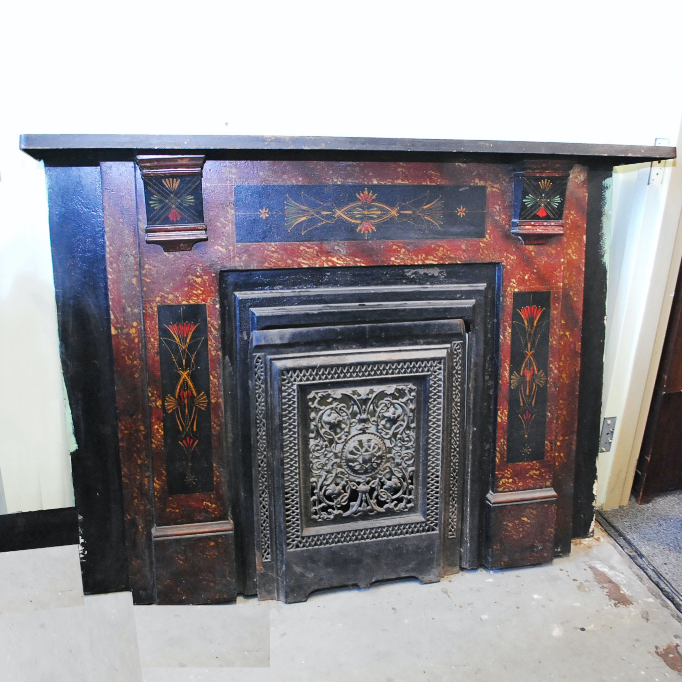 Antique Faux Marbled and Stenciled Iron Mantle