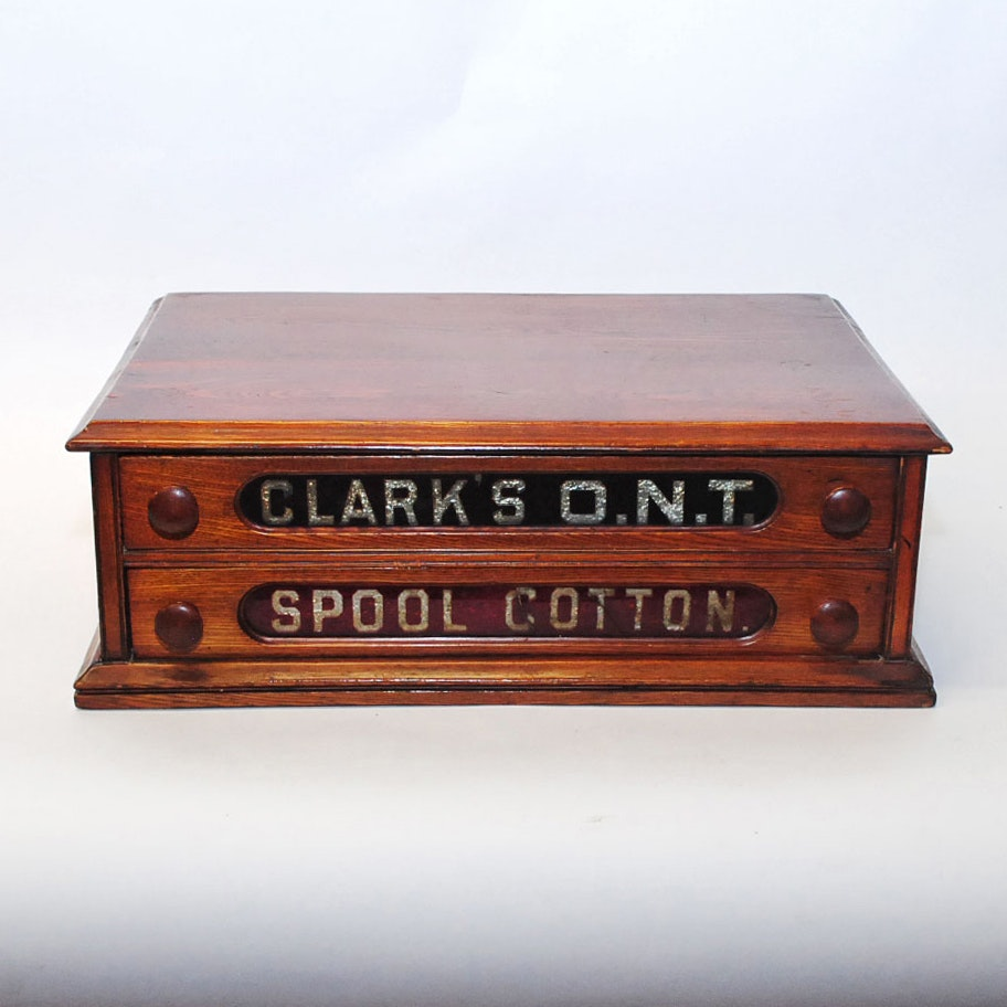 Antique Clarks Spool Drawer Cabinet