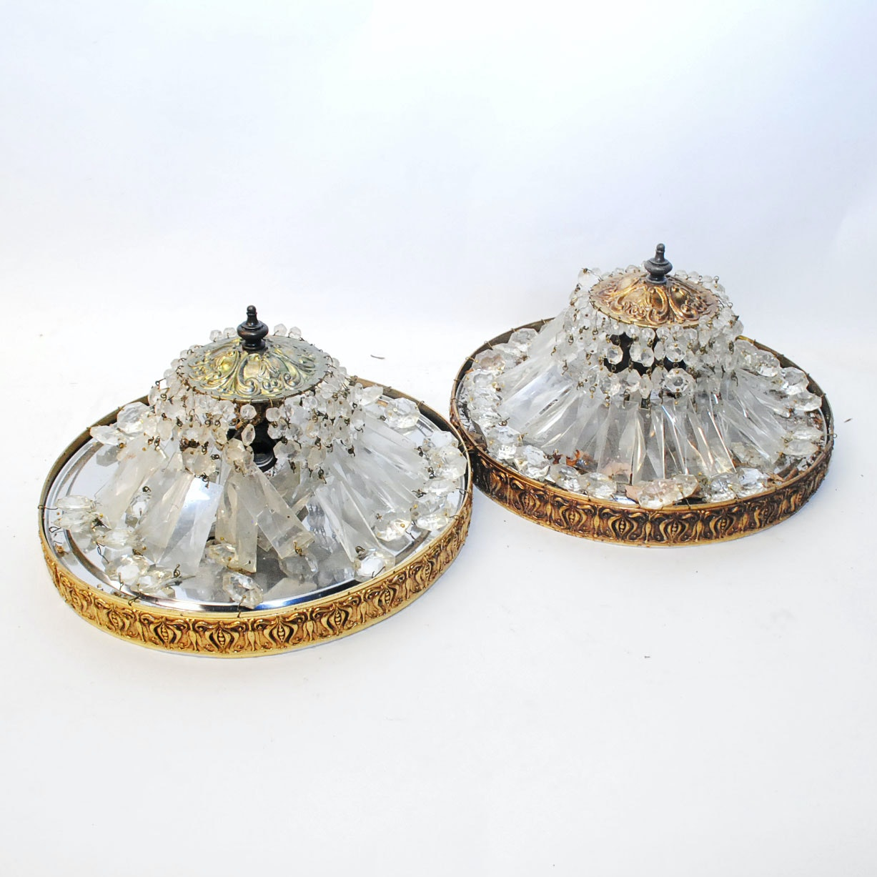 Vintage Flush Mounted Crystal Bead Ceiling Fixtures