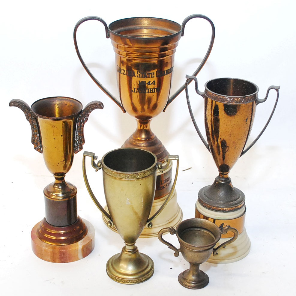 Vintage Trophy Collection Including Jacobin Pigeon Award