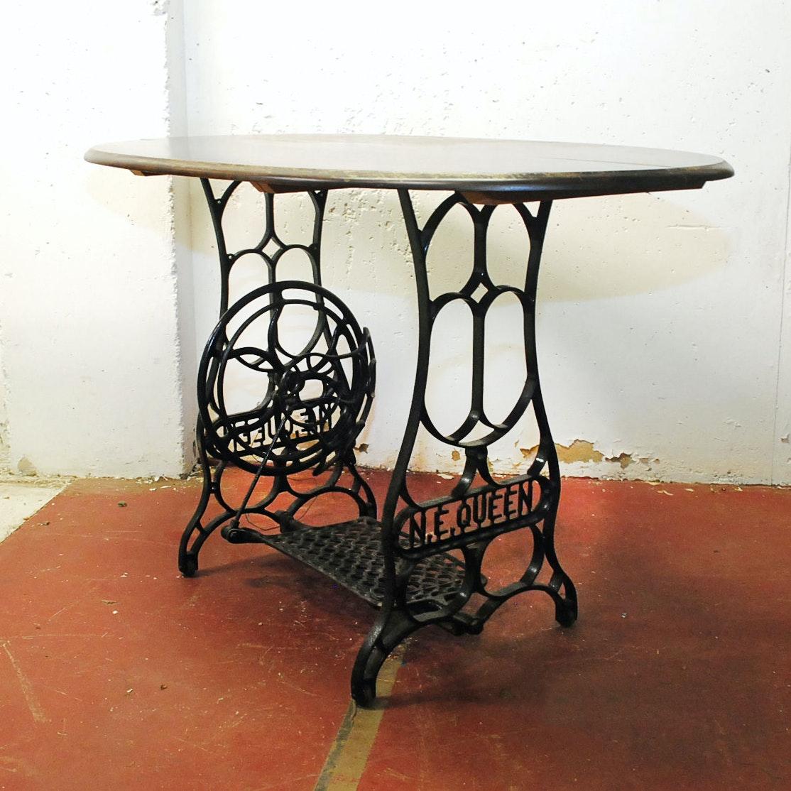 Repurposed Wrought Iron Treadle Base Table