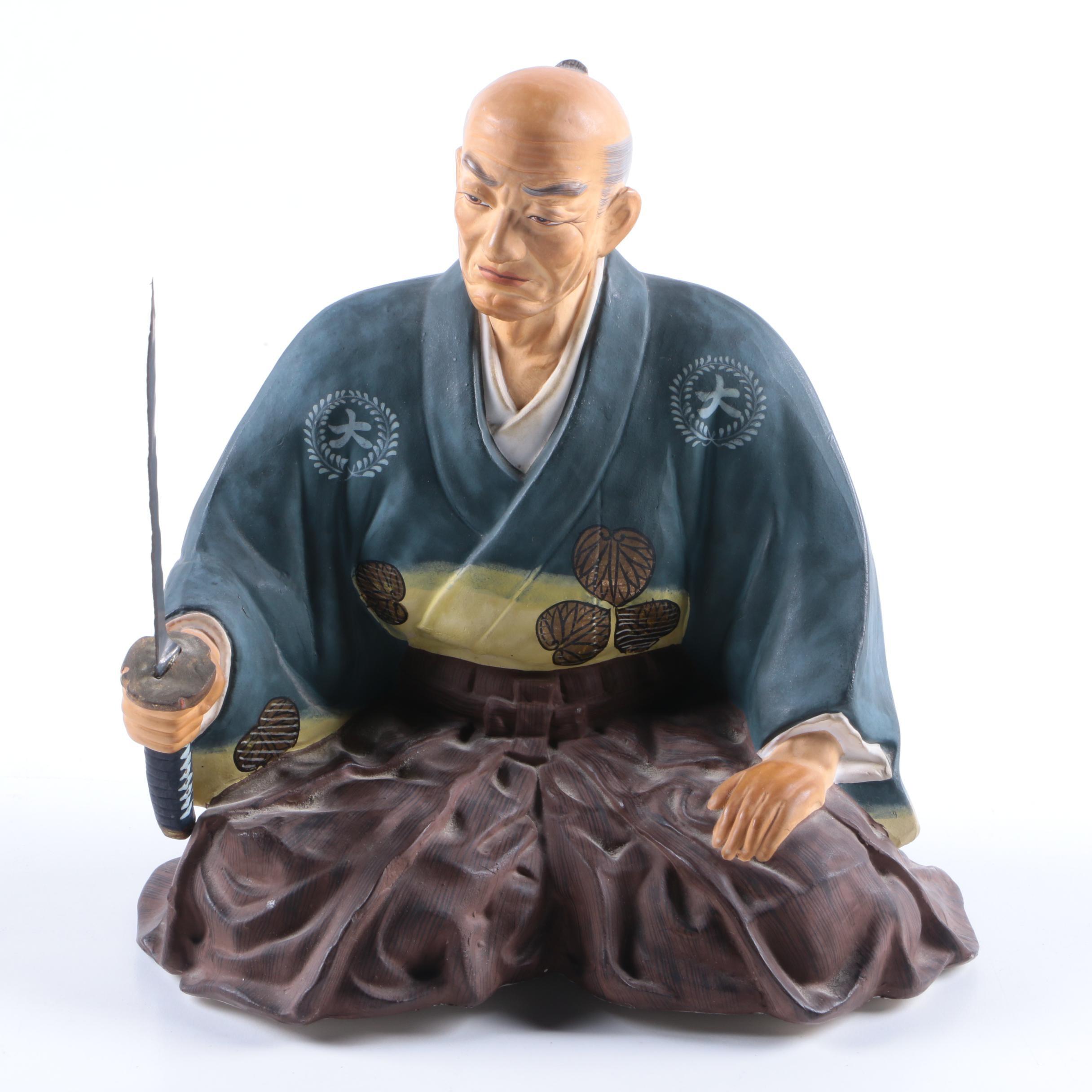 Japanese Ceramic Warrior Figurine