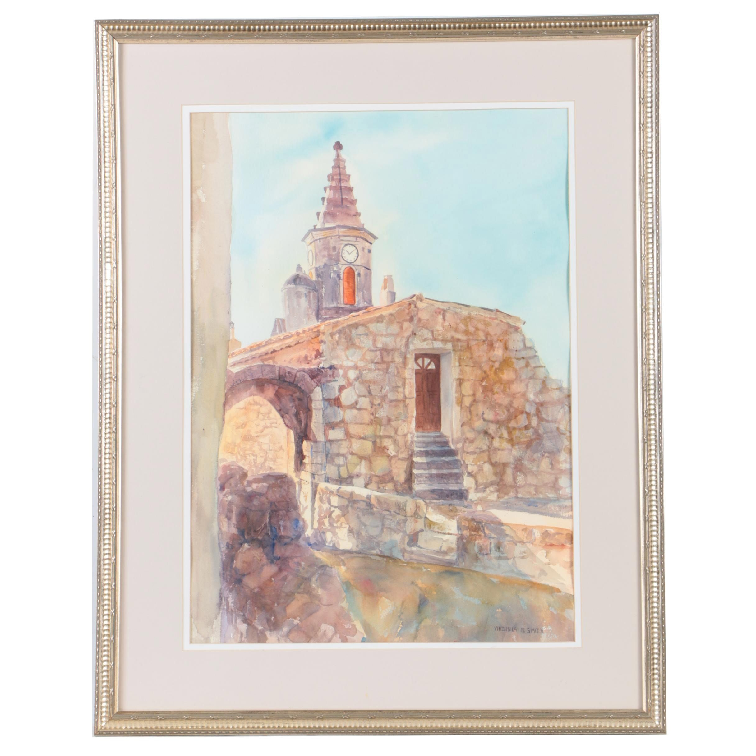 Virginia R. Smith Watercolor Painting of a Stone Building