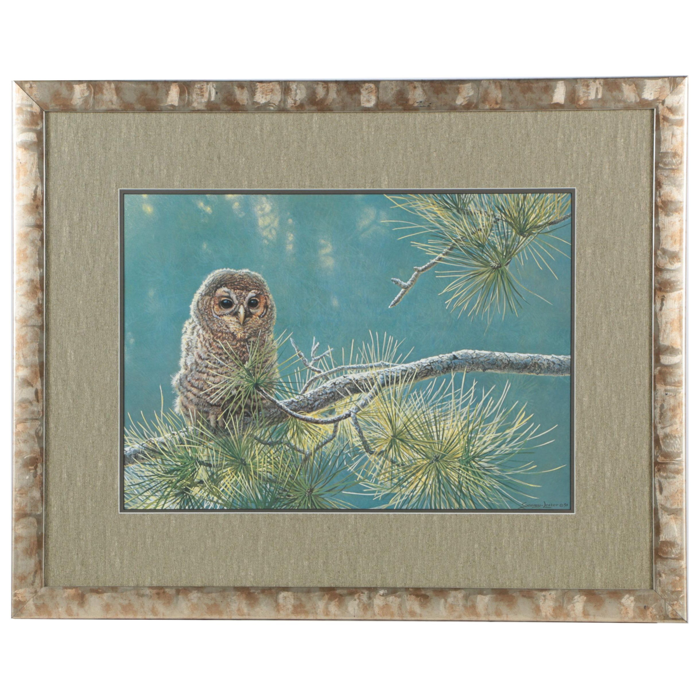 """Offset Lithograph After John Seerey-Lester """"Out on a Limb - Young Barred Owl"""""""
